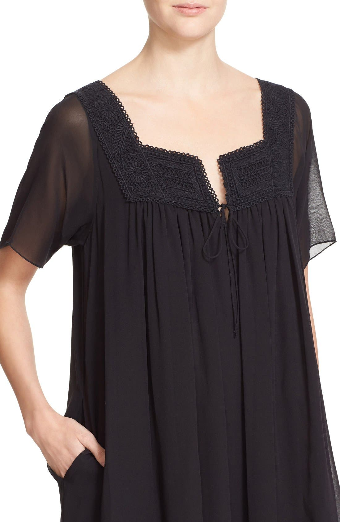 Alternate Image 4  - See by Chloé Lace Trim Silk Georgette Dress