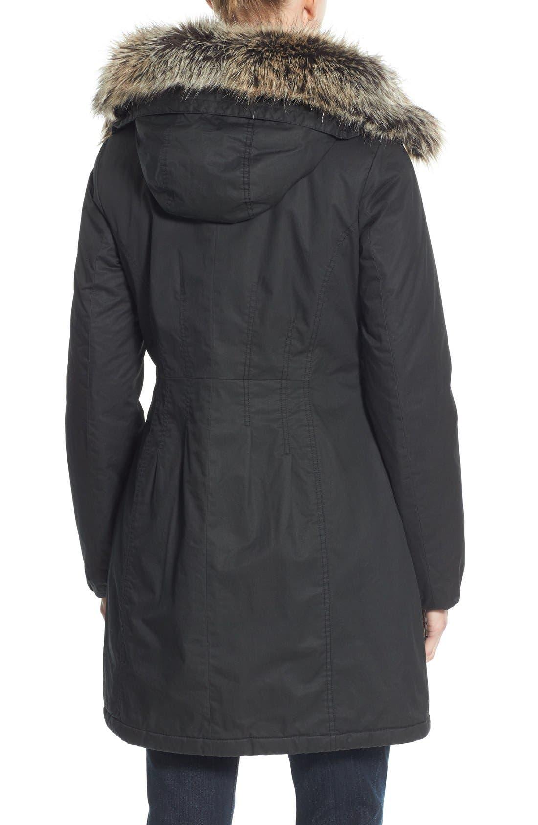 Alternate Image 2  - Halogen® Hooded Parka with Faux Fur Trim (Regular & Petite)