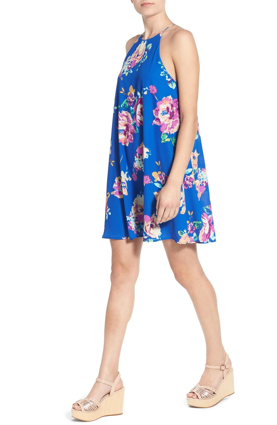 Alternate Image 4  - Everly Floral Print High Neck Trapeze Dress