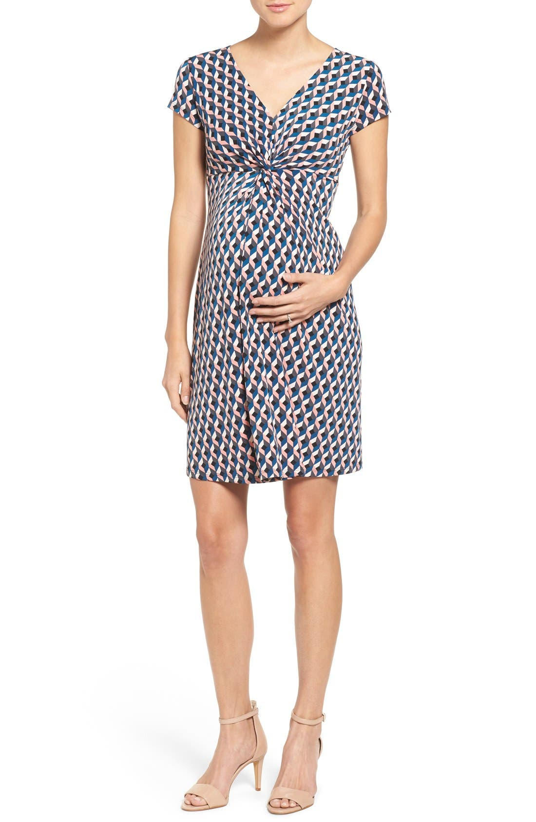 Twist Front Maternity Dress,                             Main thumbnail 1, color,                             Cubism