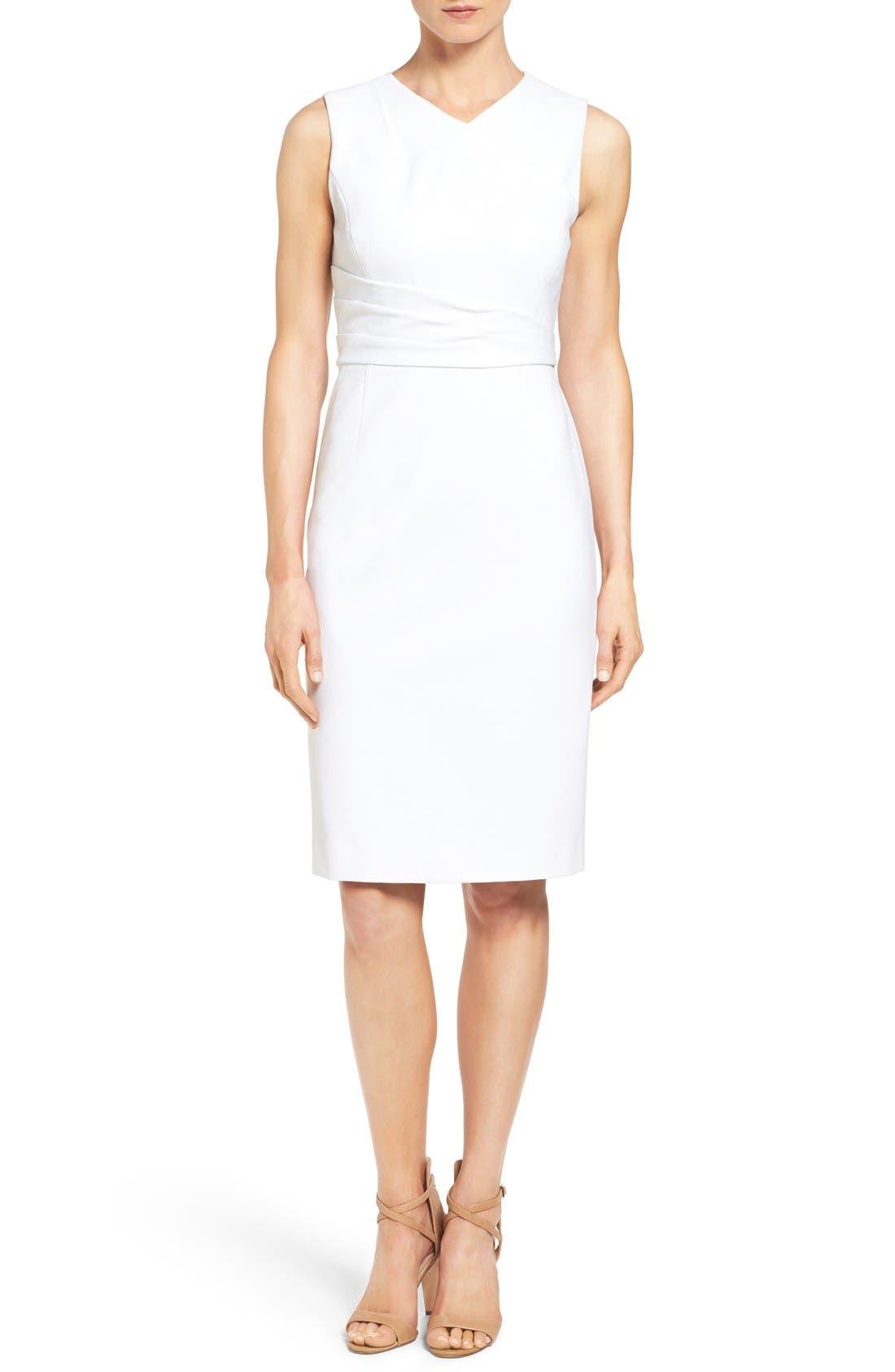 Pleat Waist Sleeveless Ponte Sheath Dress,                             Main thumbnail 1, color,                             White