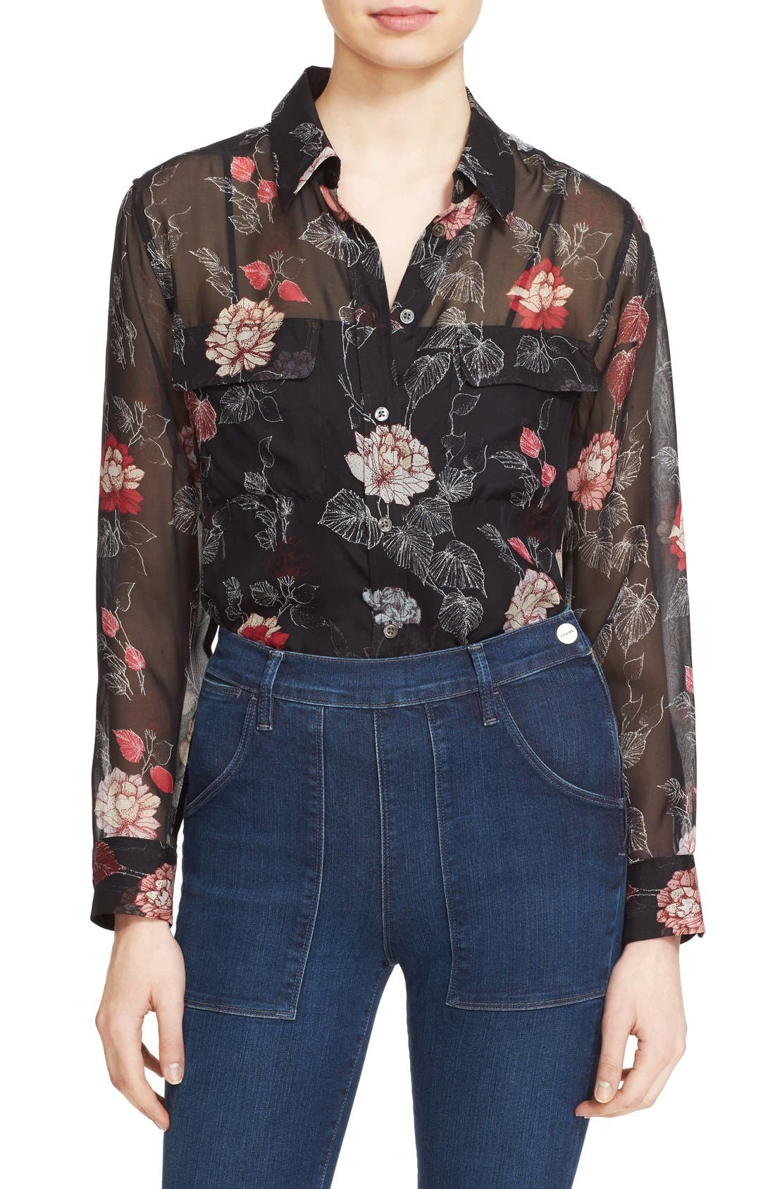 Main Image - Equipment 'Signature' Floral Print Silk Shirt