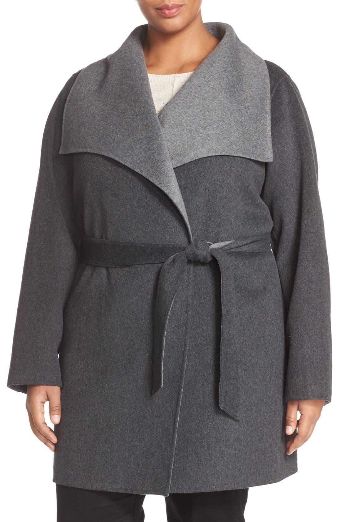 Tahari 'Ella' Belted Two-Tone Wool Blend Wrap Coat (Plus Size)