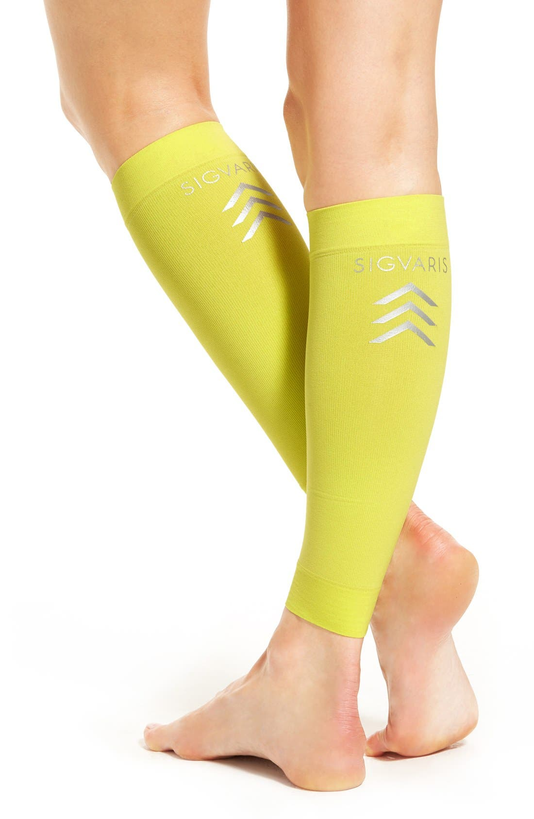 Graduated Compression Calf Sleeves,                             Alternate thumbnail 2, color,                             Limeade