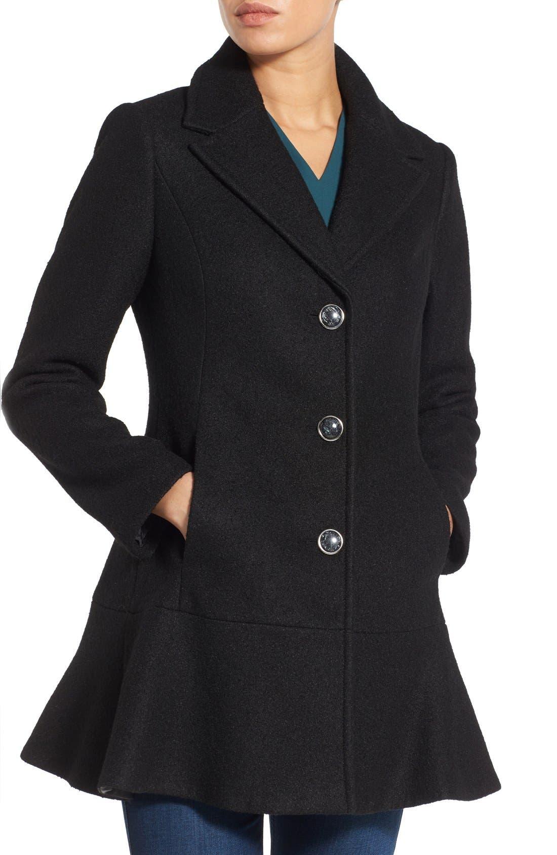 Notch Lapel Peplum Coat,                             Main thumbnail 1, color,                             Black