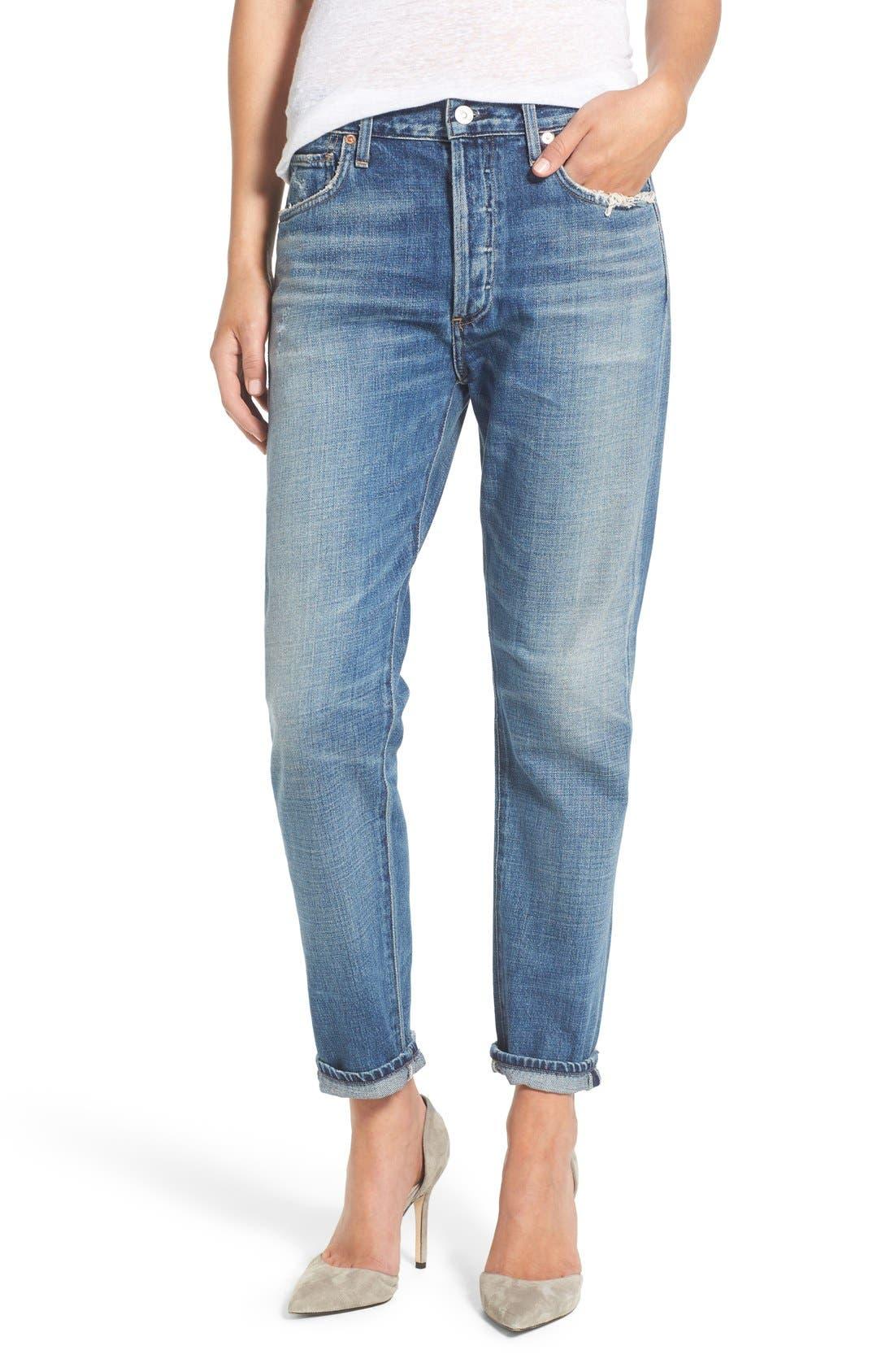 Liya High Waist Slim Boyfriend Jeans,                         Main,                         color, Fade Out