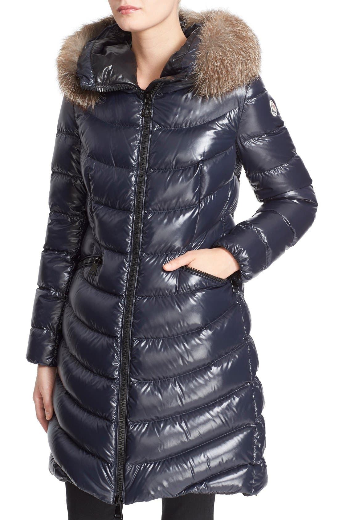 'Aphia' Water Resistant Shiny Nylon Down Puffer Coat with Removable Genuine Fox Fur Trim,                             Alternate thumbnail 7, color,                             Navy