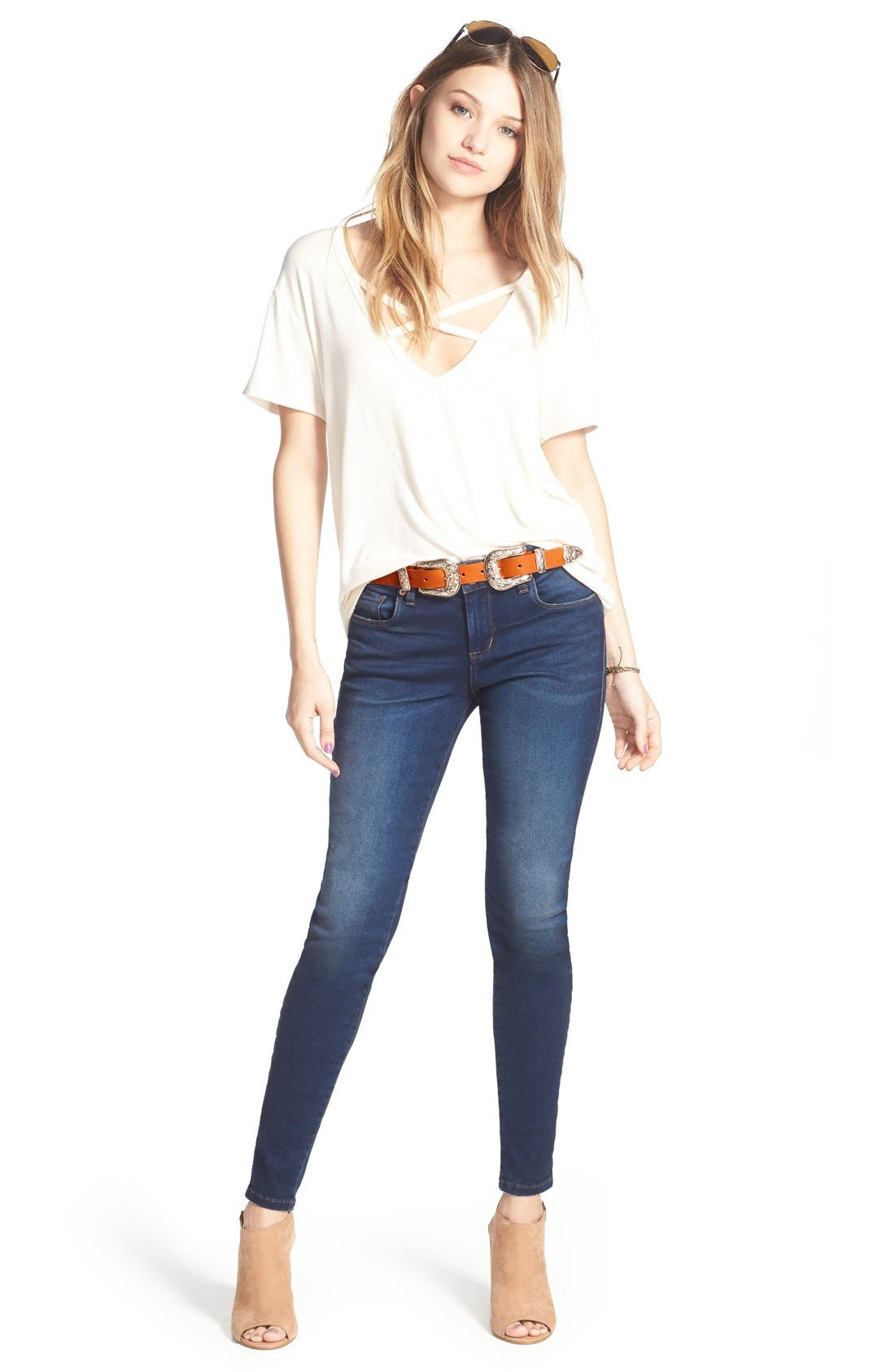 'Piper' Skinny Jeans,                             Alternate thumbnail 3, color,                             Royal Beach