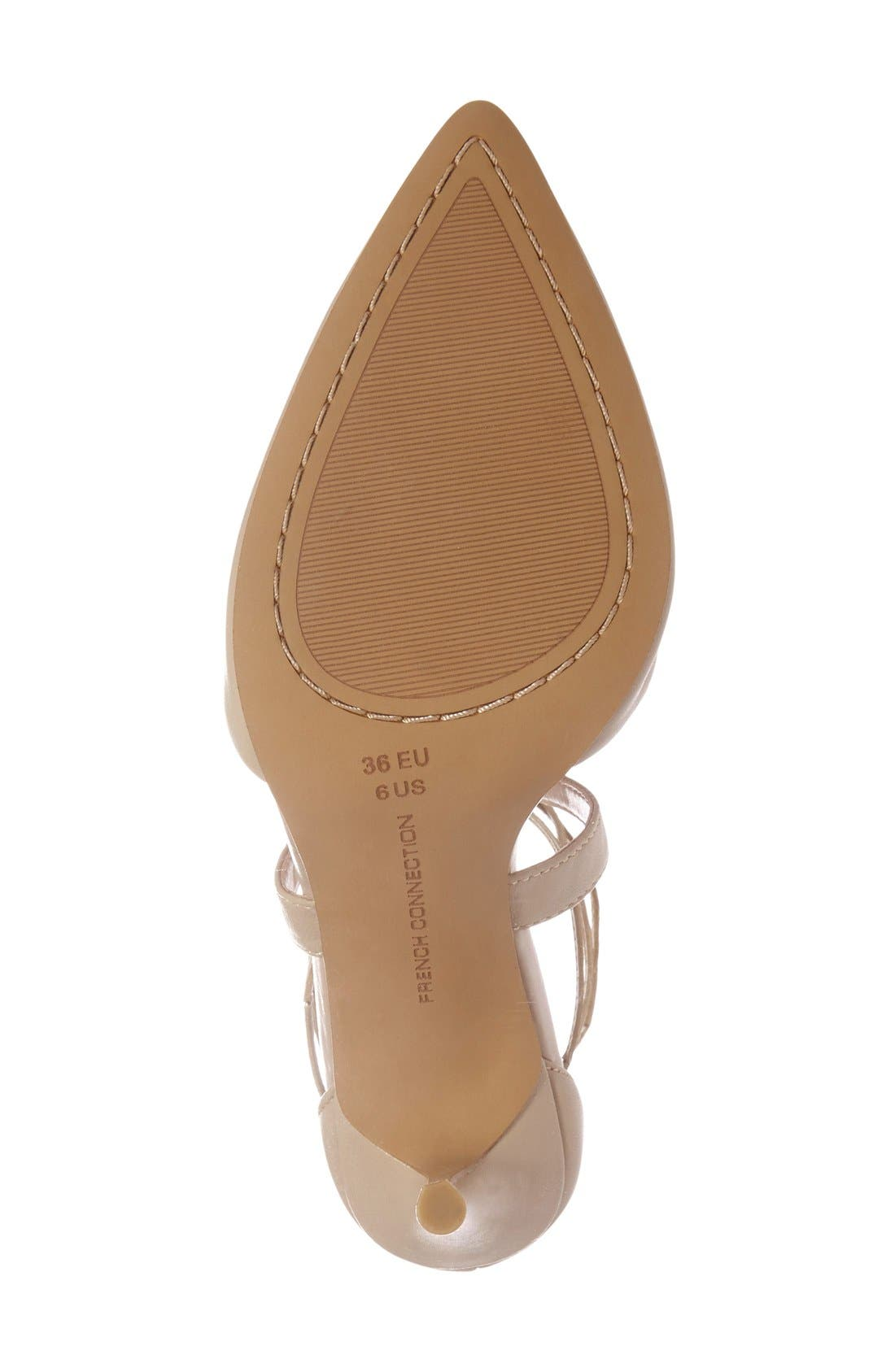 'Elise' d'Orsay Wraparound Lace Pump,                             Alternate thumbnail 4, color,                             Almost Nude Leather
