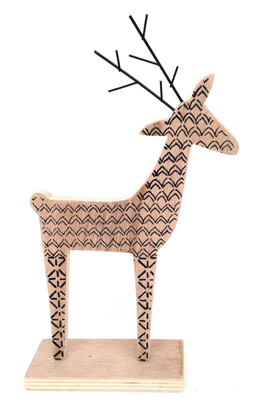 Wooden Deer Decoration,                         Main,                         color, Natural/ Black