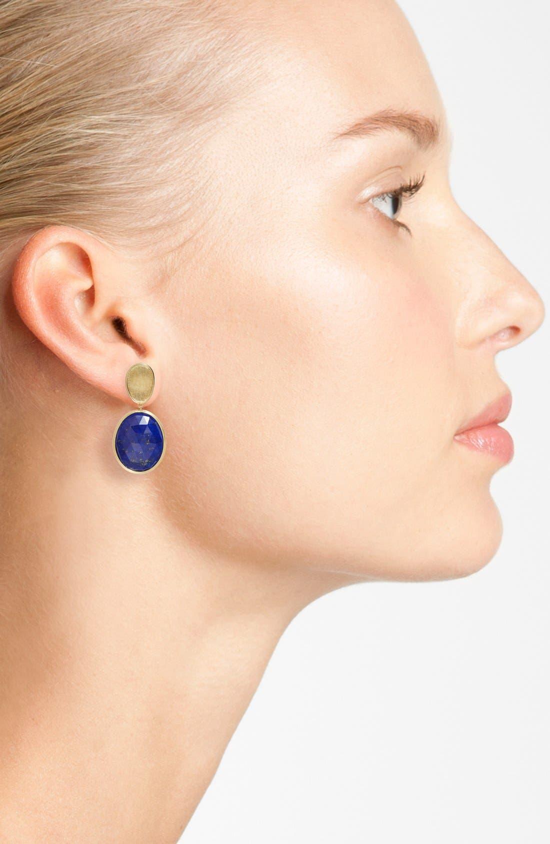 Lunaria Semiprecious Stone Drop Earrings,                             Alternate thumbnail 2, color,                             Yellow Gold/ Lapis