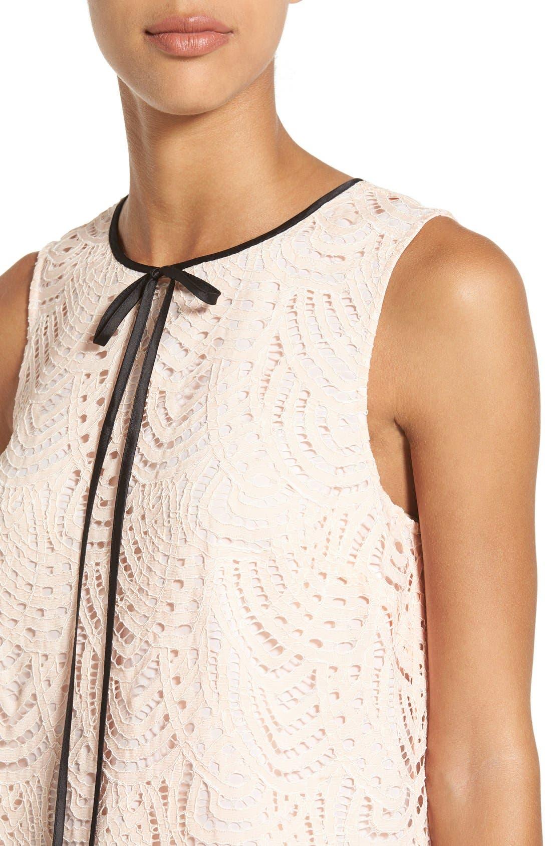 Alternate Image 4  - Halogen® Tie Neck Lace Top (Regular & Petite)