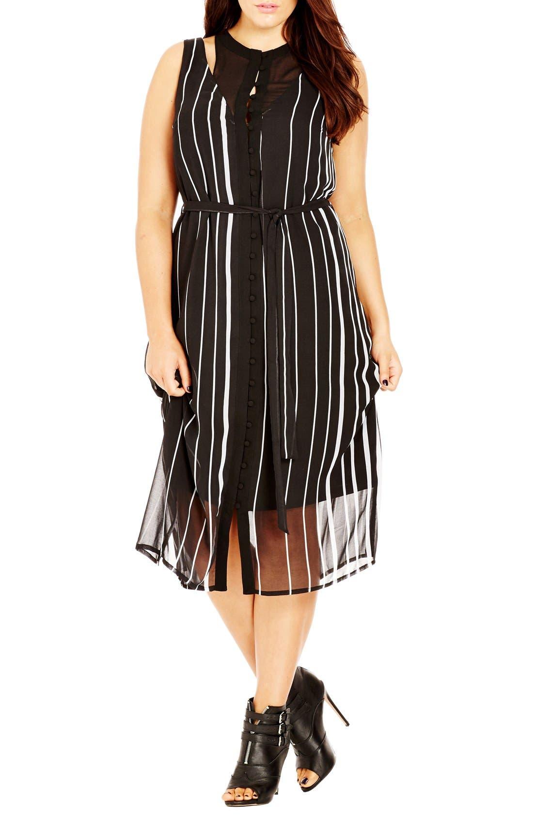 Main Image - City Chic 'Office Romance' Sheer Overlay Dress (Plus Size)