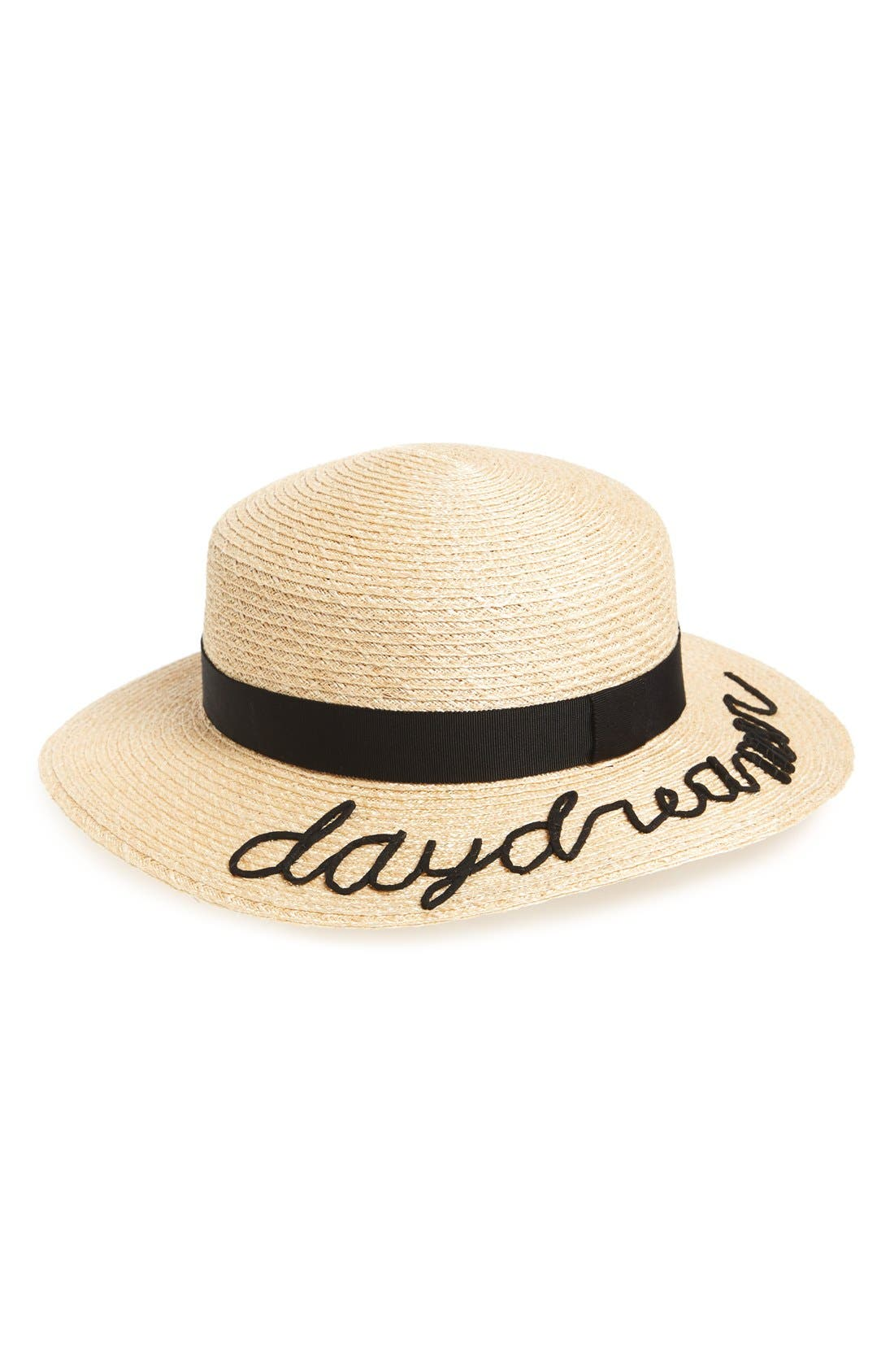 'Daydreamer' Straw Boater Hat,                             Main thumbnail 1, color,                             Natural