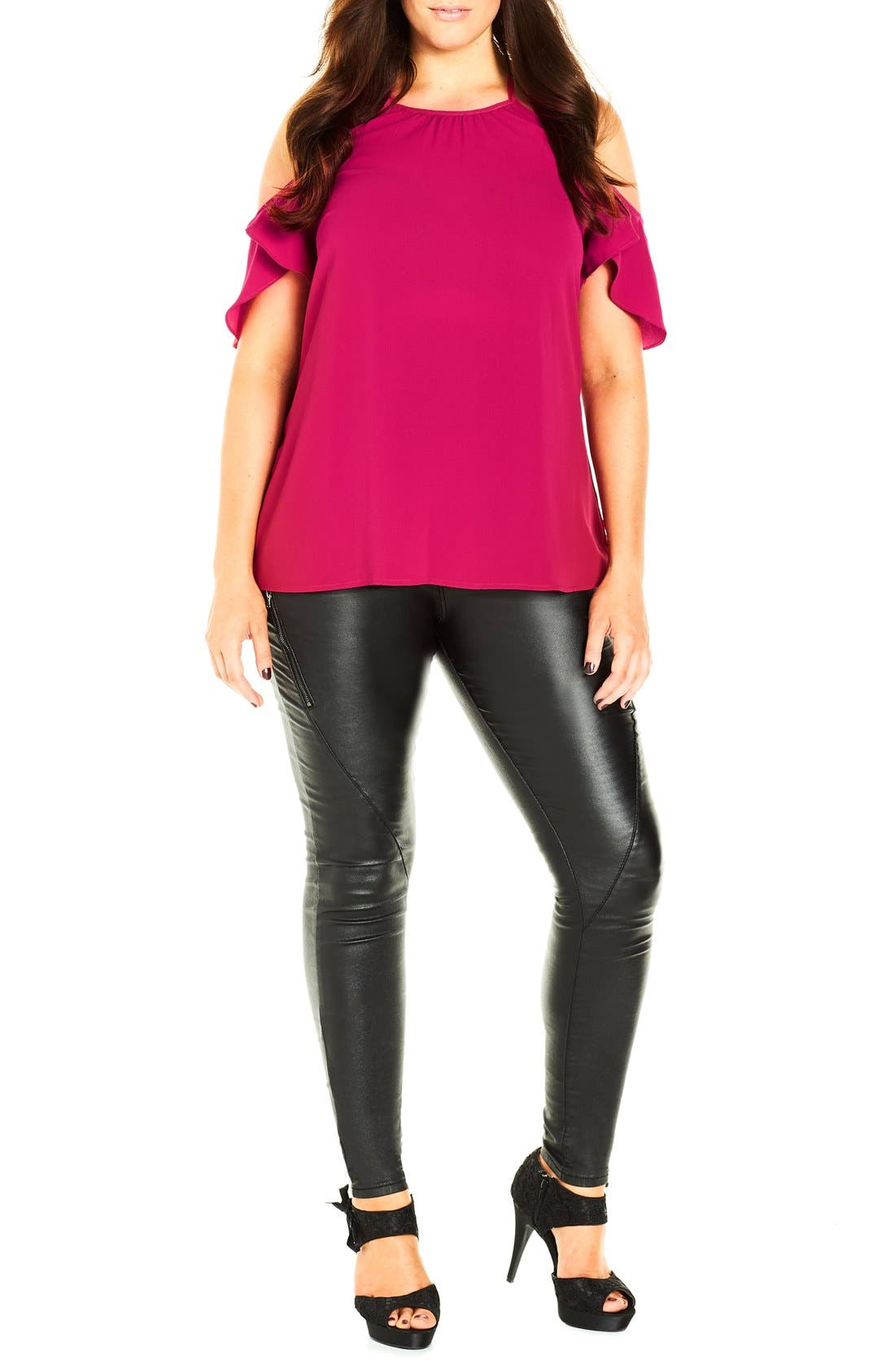 Main Image - City Chic 'Flirty Sleeve' Crepe Cold Shoulder Top (Plus Size)