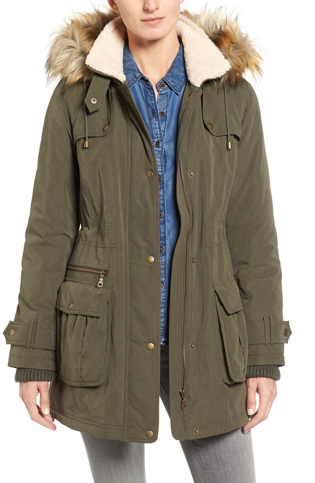 Hooded Anorak with Faux Fur Trim,                         Main,                         color, Olive
