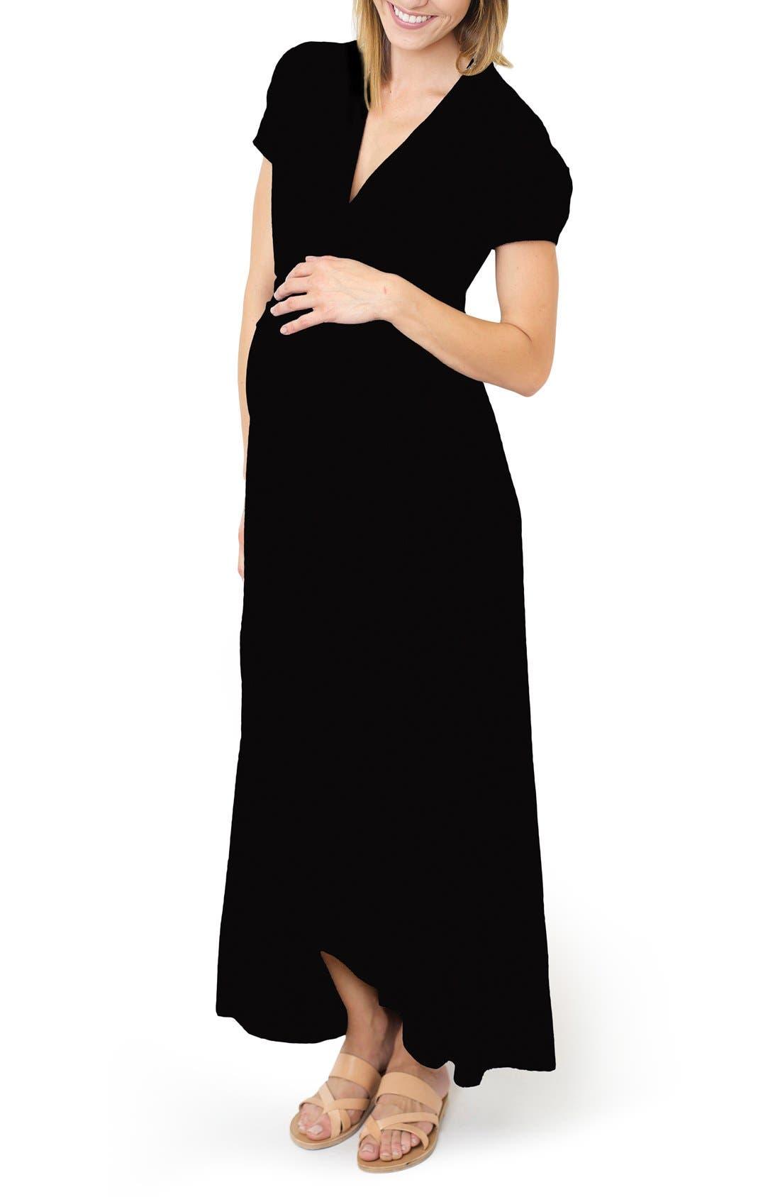'Caroline' Maternity/Nursing Maxi Dress,                             Main thumbnail 1, color,                             Black