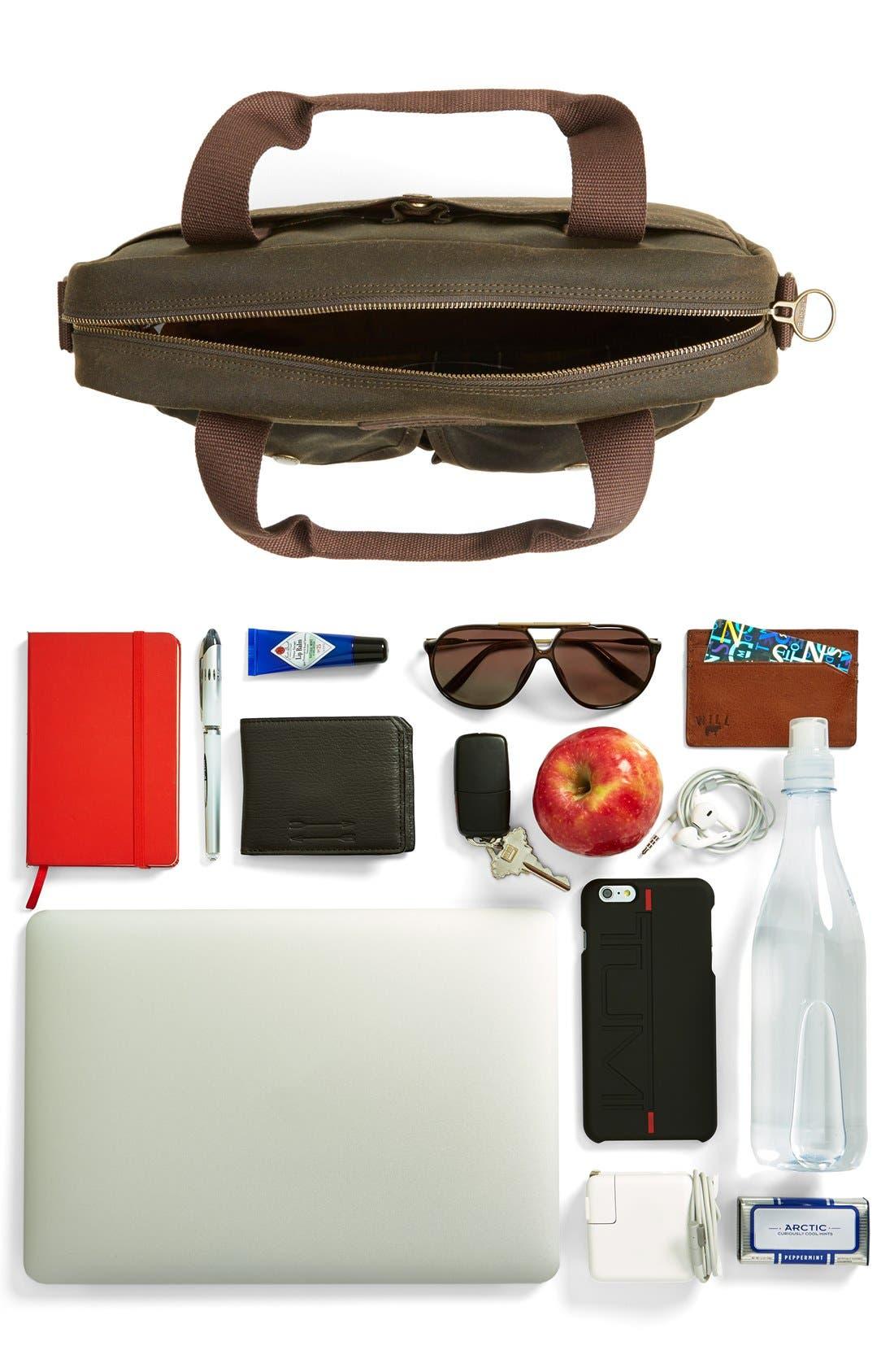 'Longthorpe' Waxed Canvas Laptop Bag,                             Alternate thumbnail 7, color,                             Olive