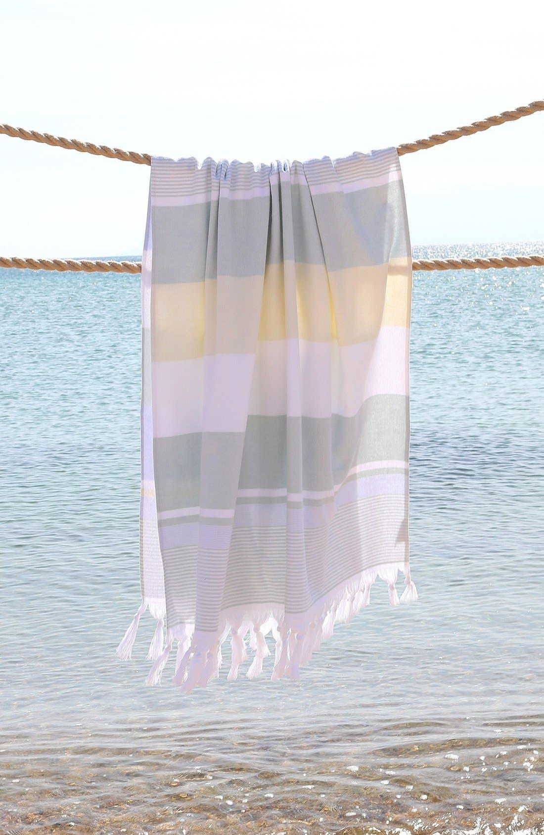 'Summer Loving' Turkish Pestemal Towel,                             Alternate thumbnail 5, color,                             Sky Blue