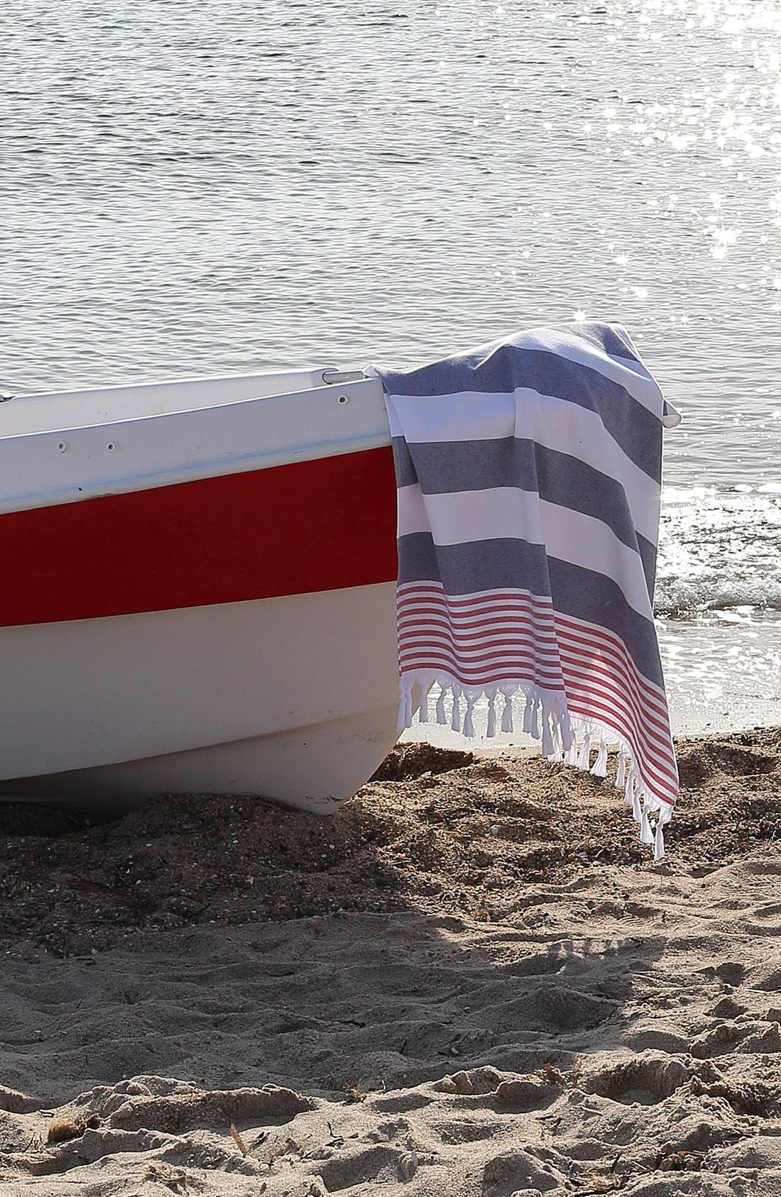 'Patriotic' Turkish Pestemal Towel,                             Alternate thumbnail 5, color,                             Ocean Blue