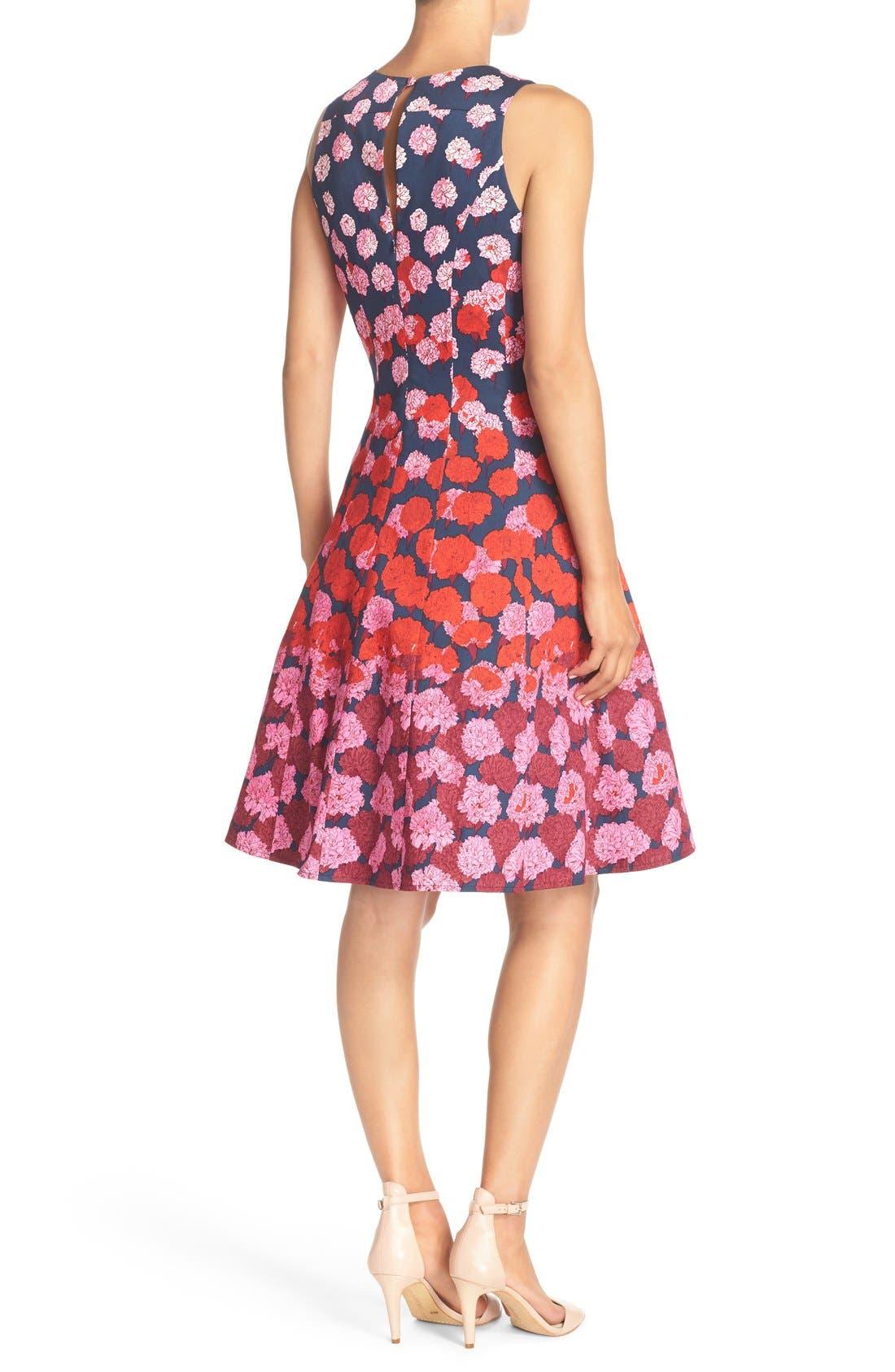 Alternate Image 2  - Maggy London Floral Print Fit & Flare Dress (Regular & Petite)