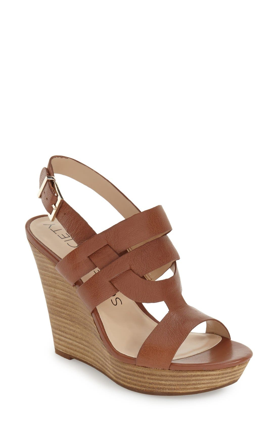 'Jenny' Slingback Wedge Sandal,                         Main,                         color, Equestrian Tan