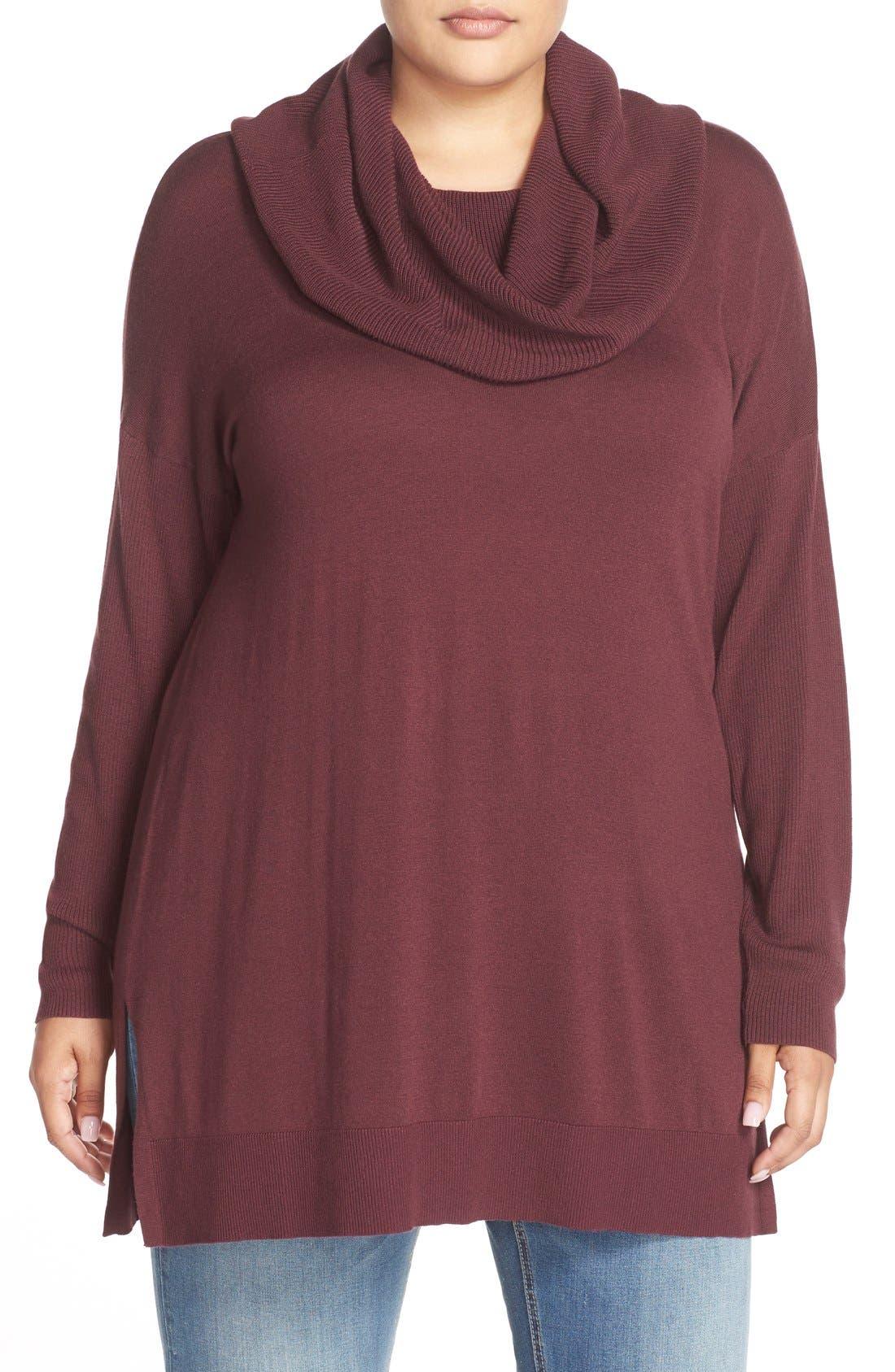 Cowl Neck Tunic Sweater,                         Main,                         color, Burgundy Stem