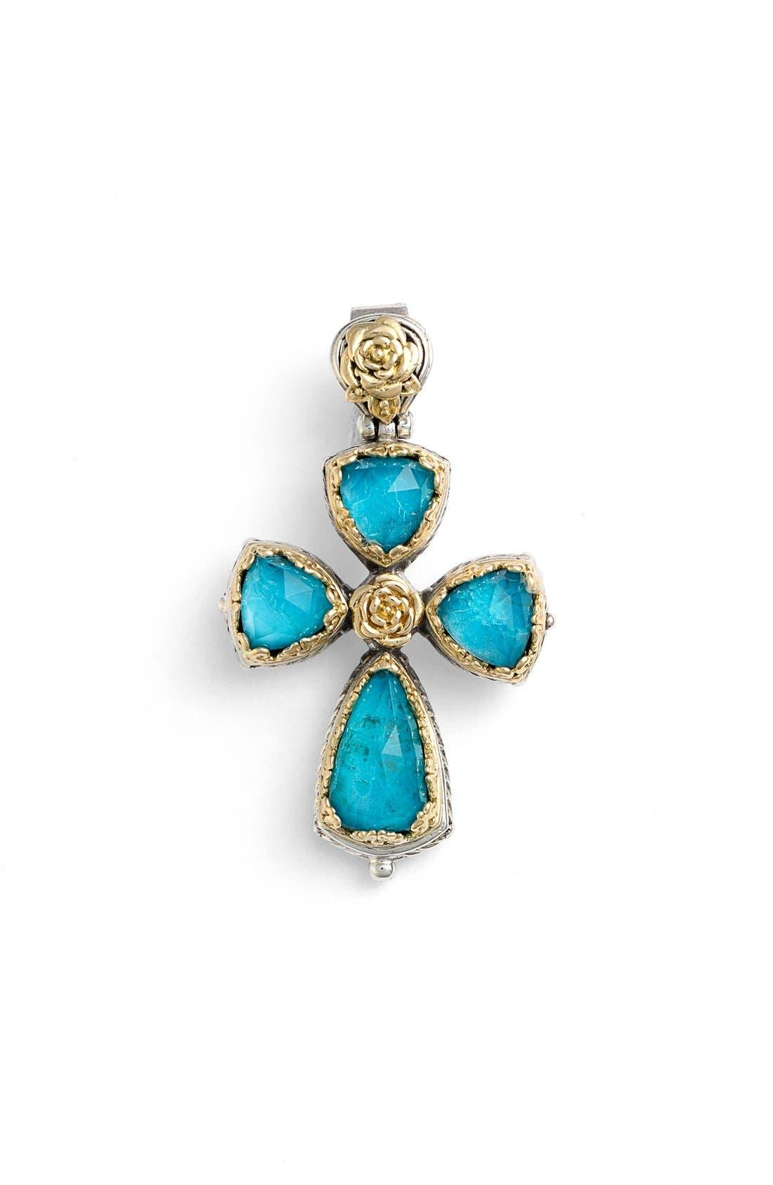 'Iliada' Cross Pendant,                             Main thumbnail 1, color,                             Blue/ Green
