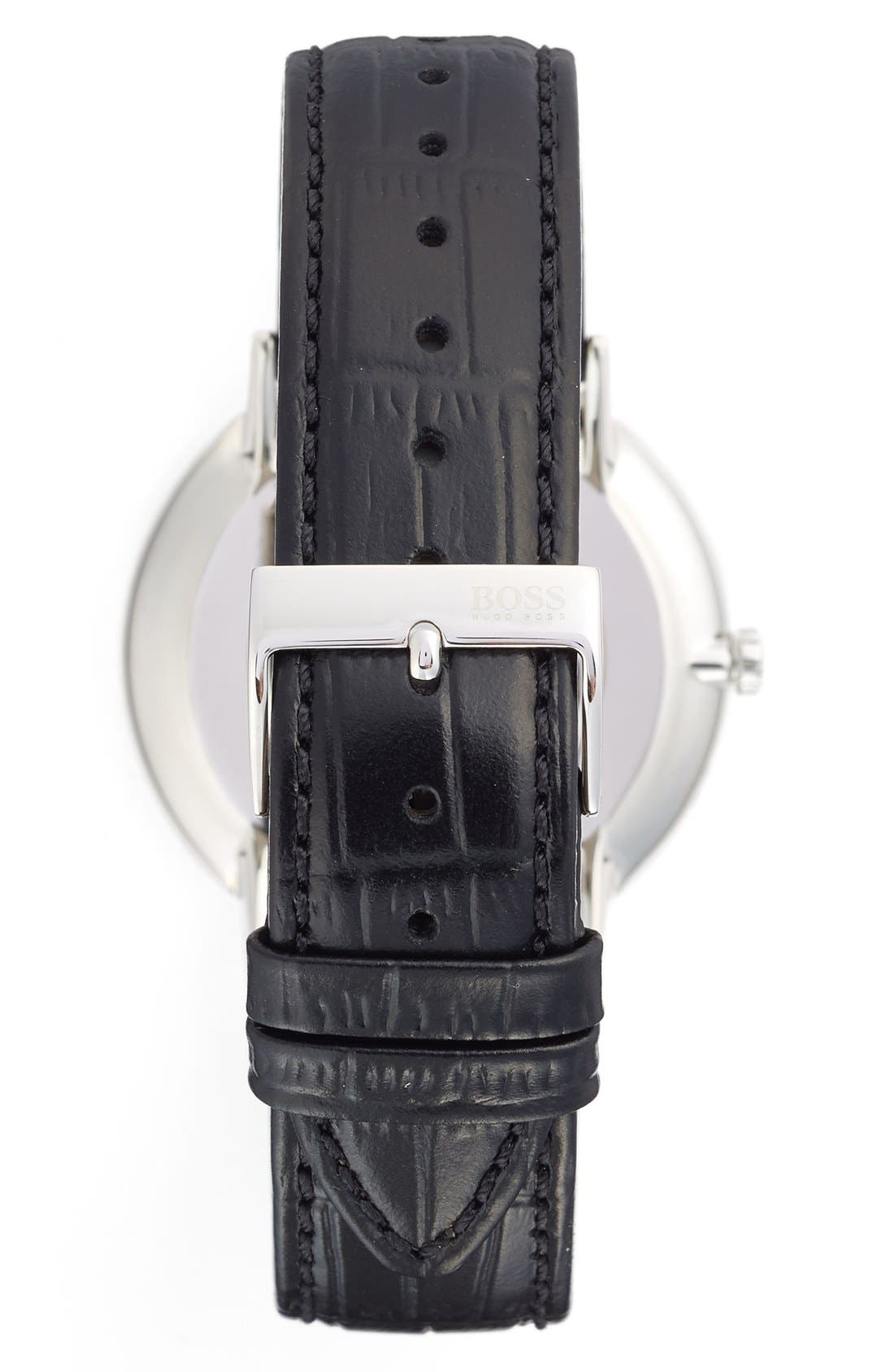 Alternate Image 2  - BOSS Ultra Slim Leather Strap Watch, 40mm