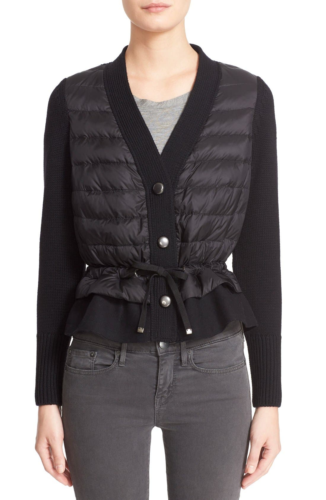 Quilted Down Front Wool Cardigan,                             Main thumbnail 1, color,                             Black