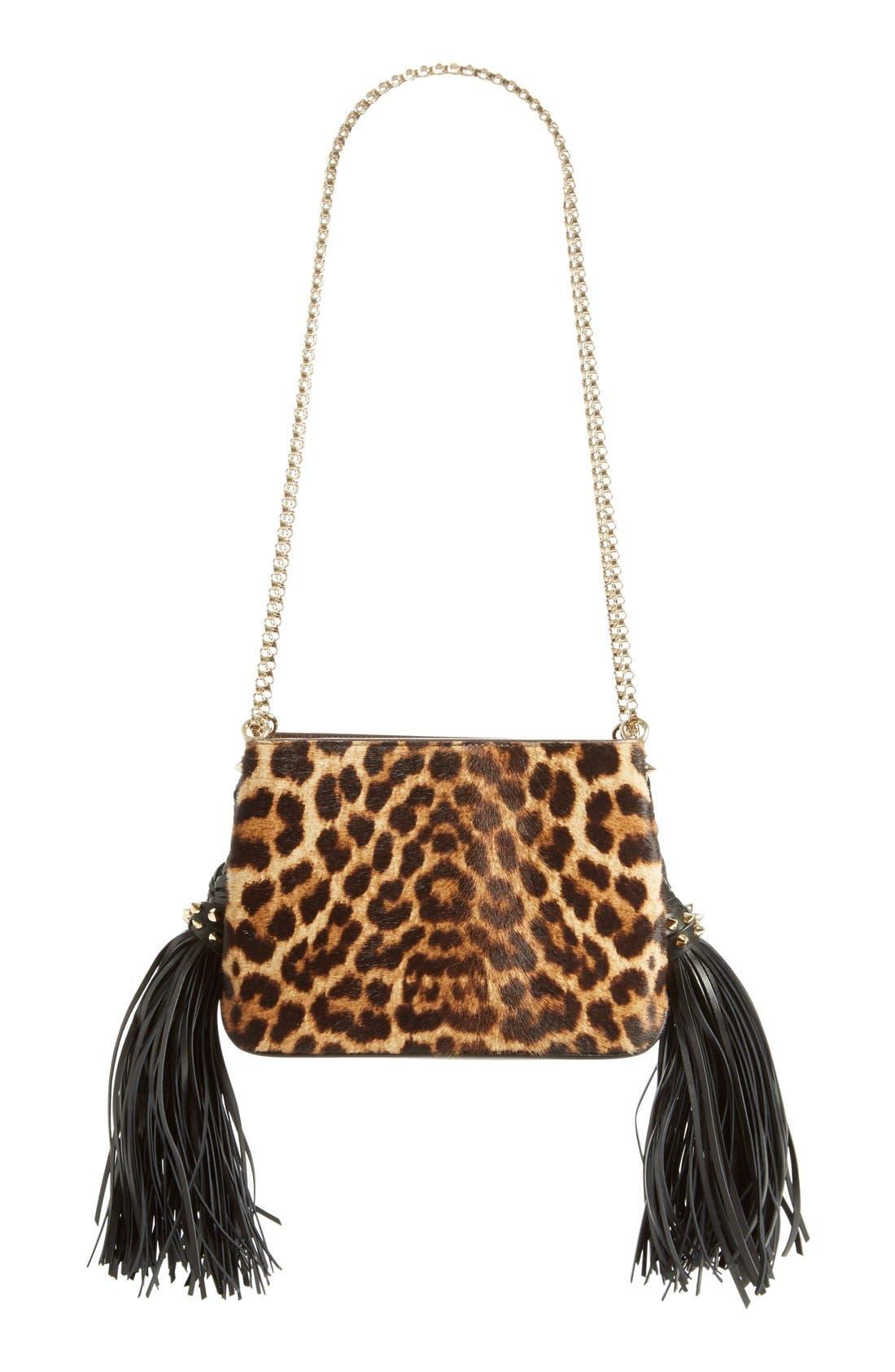 Main Image - Christian Louboutin 'Small Triloubi' Leopard Print Calf Hair Handbag