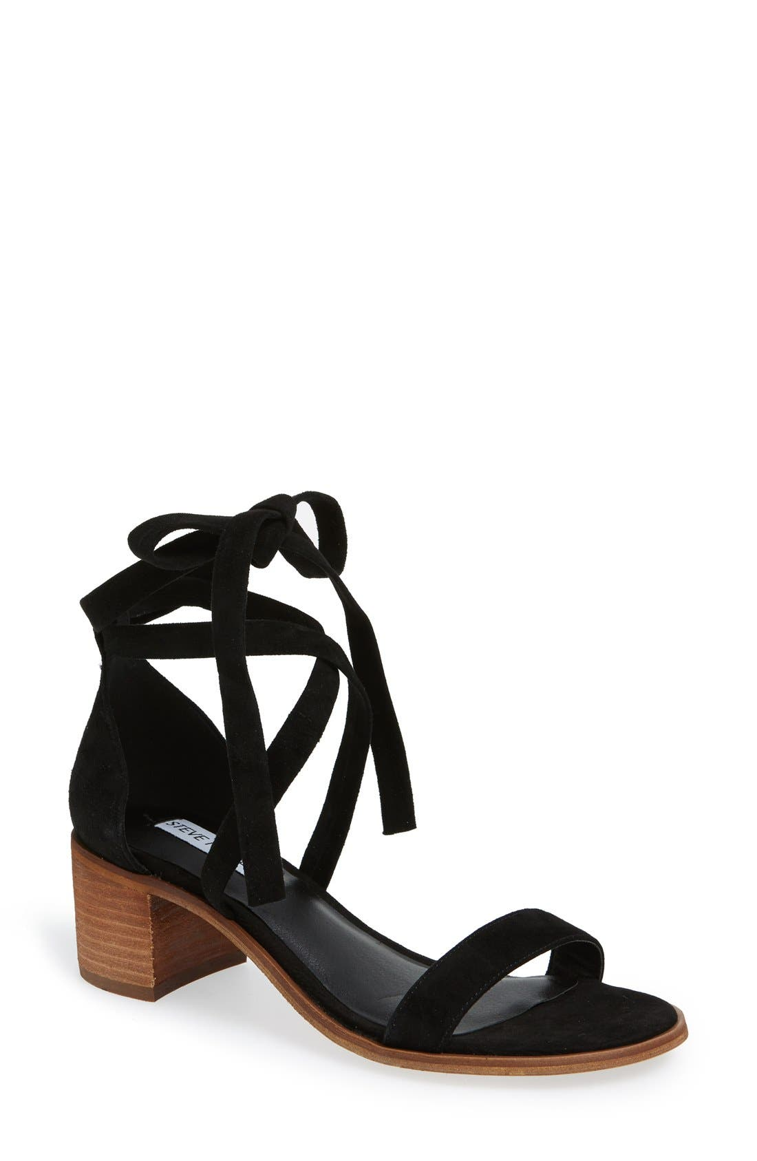 'Rizzaa' Ankle Strap Sandal,                             Main thumbnail 1, color,                             Black Suede