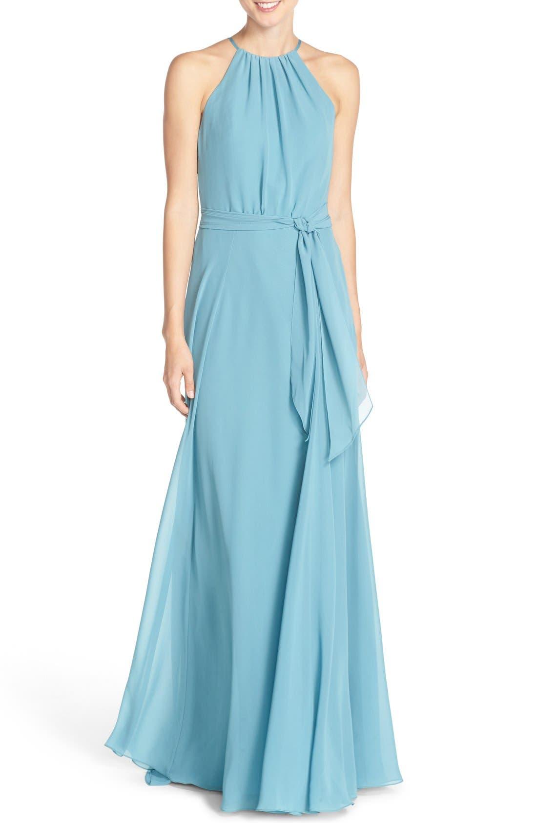 Main Image - Amsale 'Delaney' Belted A-Line Chiffon Halter Dress