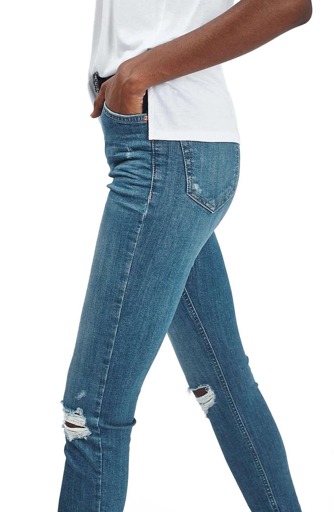 Alternate Image 5  - Topshop 'Jamie' Ripped Ankle Skinny Jeans