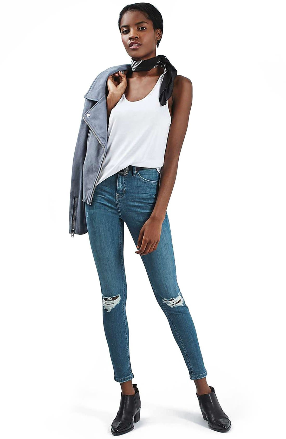 Alternate Image 2  - Topshop 'Jamie' Ripped Ankle Skinny Jeans