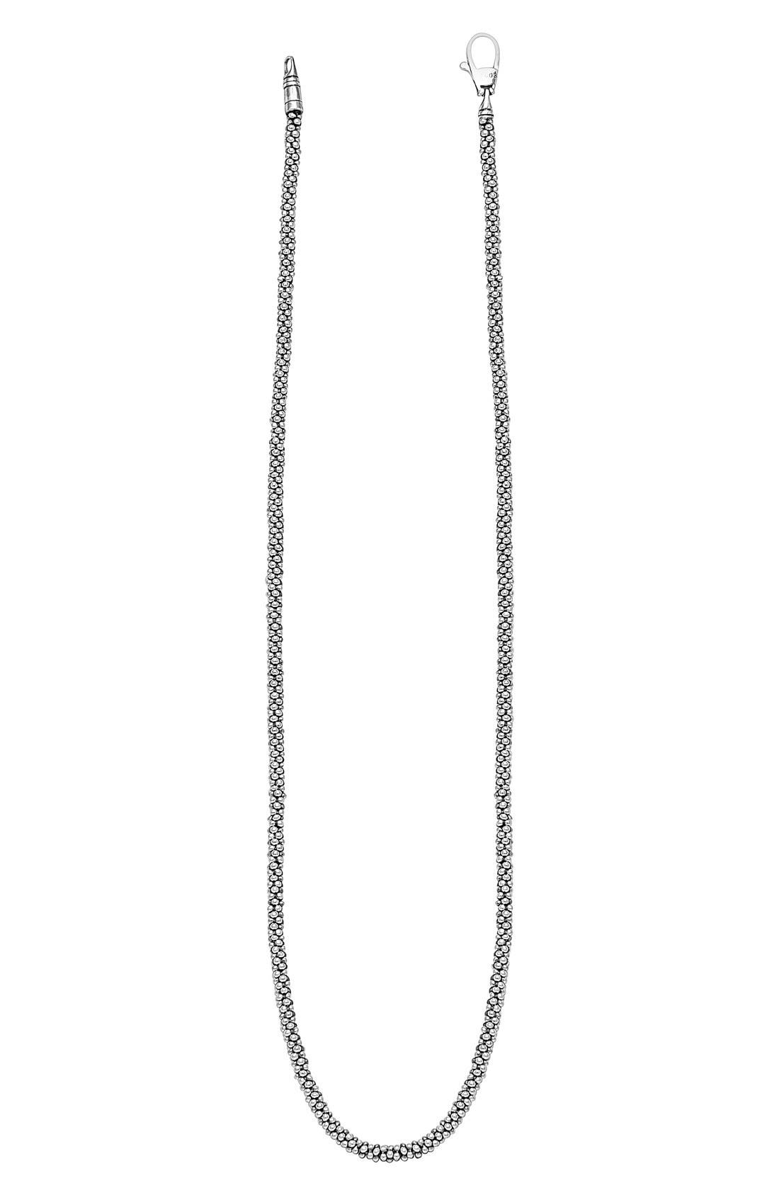 Sterling Silver Caviar 3mm Rope Necklace,                             Alternate thumbnail 4, color,                             Sterling Silver