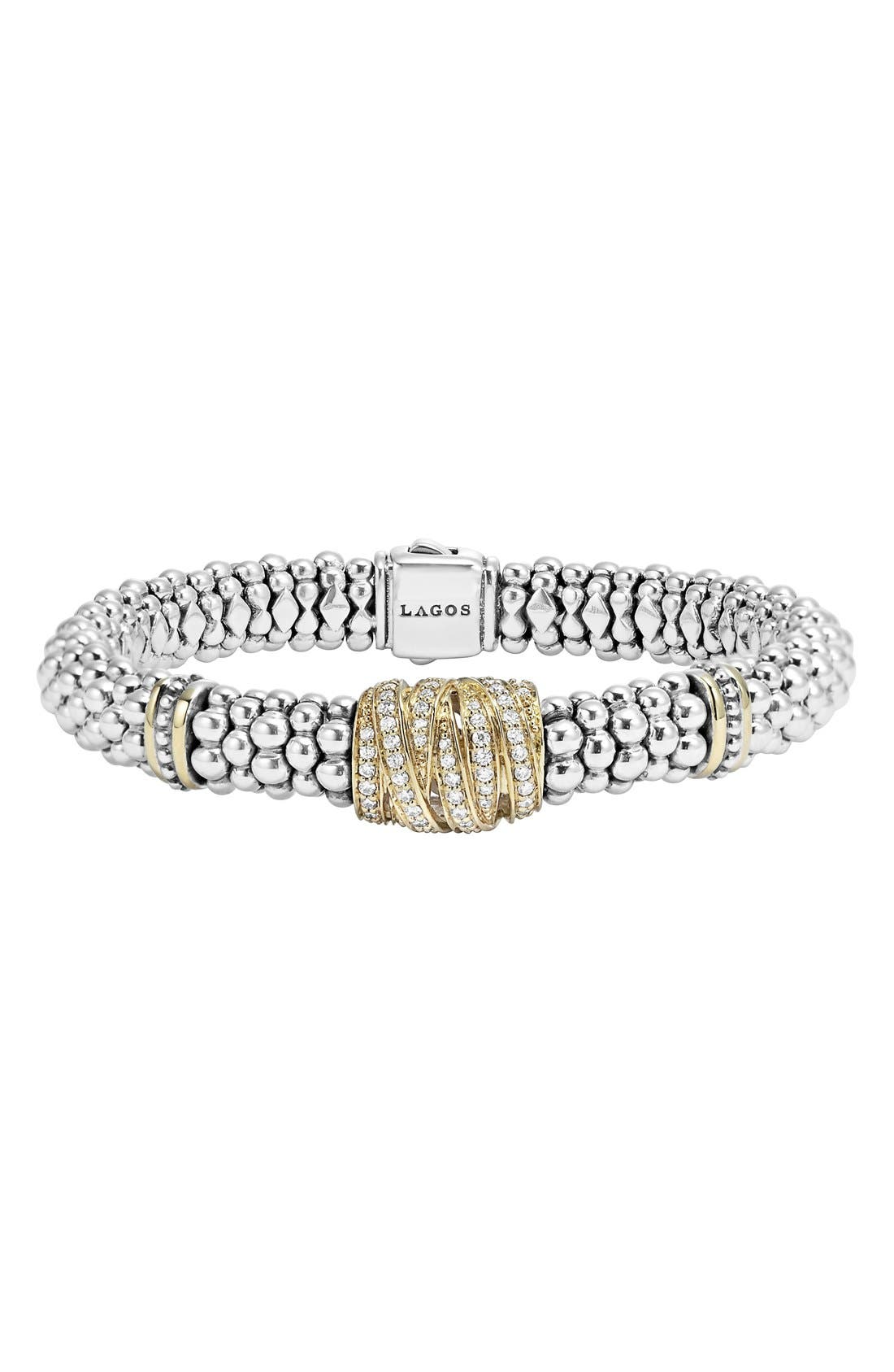 LAGOS Diamonds & Caviar Diamond Rope Bracelet