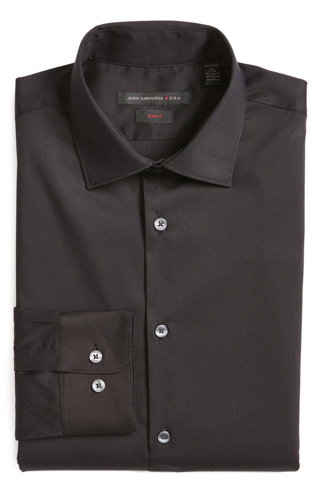 Slim Fit Solid Stretch Cotton Dress Shirt,                         Main,                         color, Black