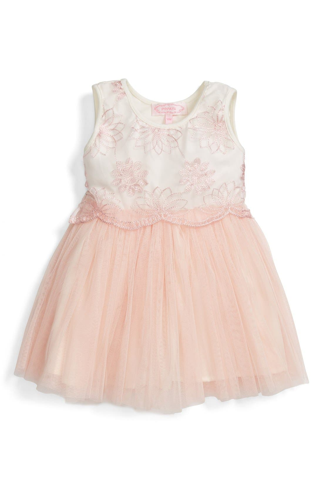 Embroidered Tulle Dress,                             Main thumbnail 1, color,                             Peach