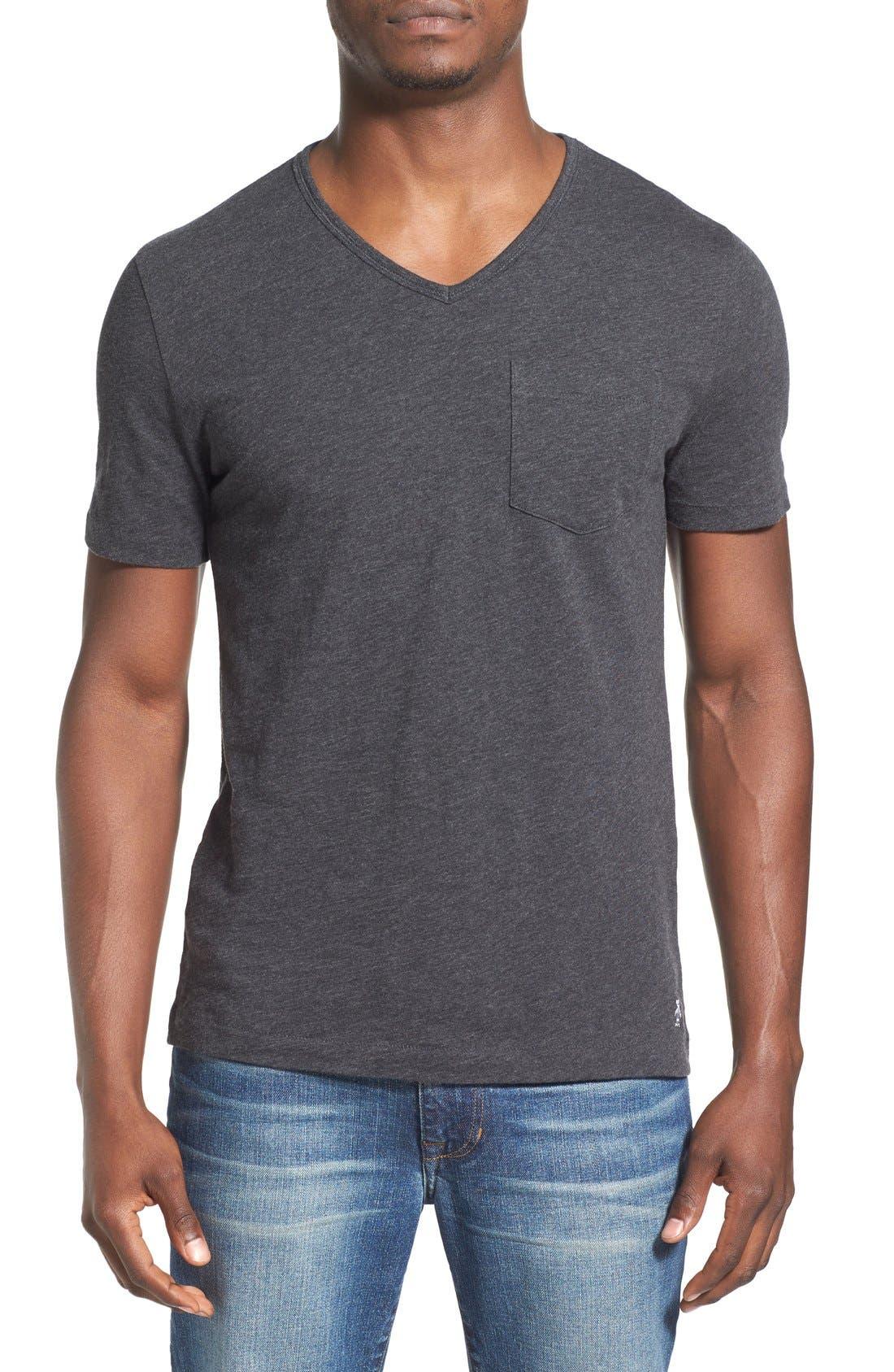'Bing' V-Neck Pocket T-Shirt,                             Main thumbnail 1, color,                             Dark Charcoal Heather