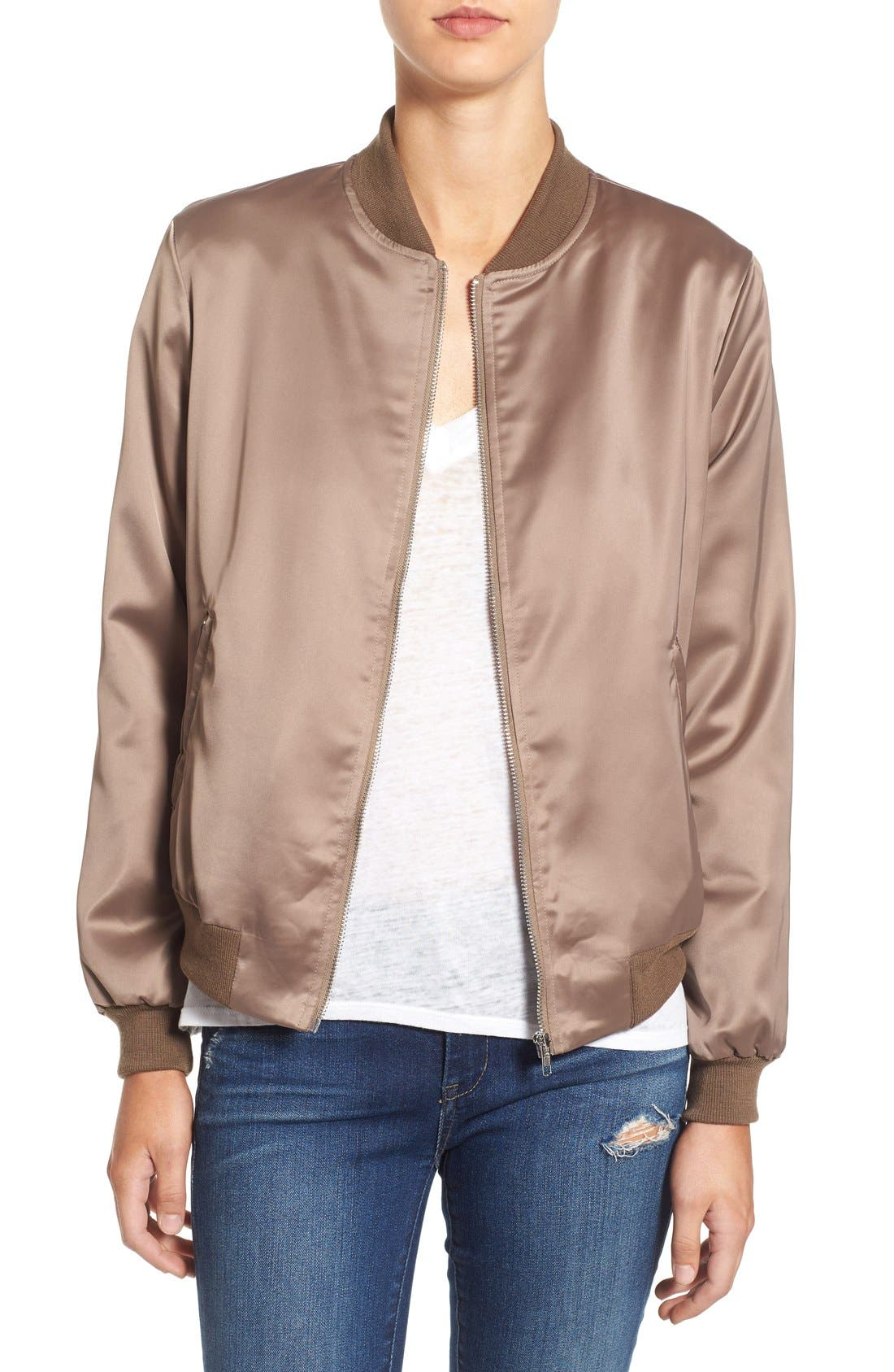Alternate Image 1 Selected - Missguided Satin Bomber Jacket