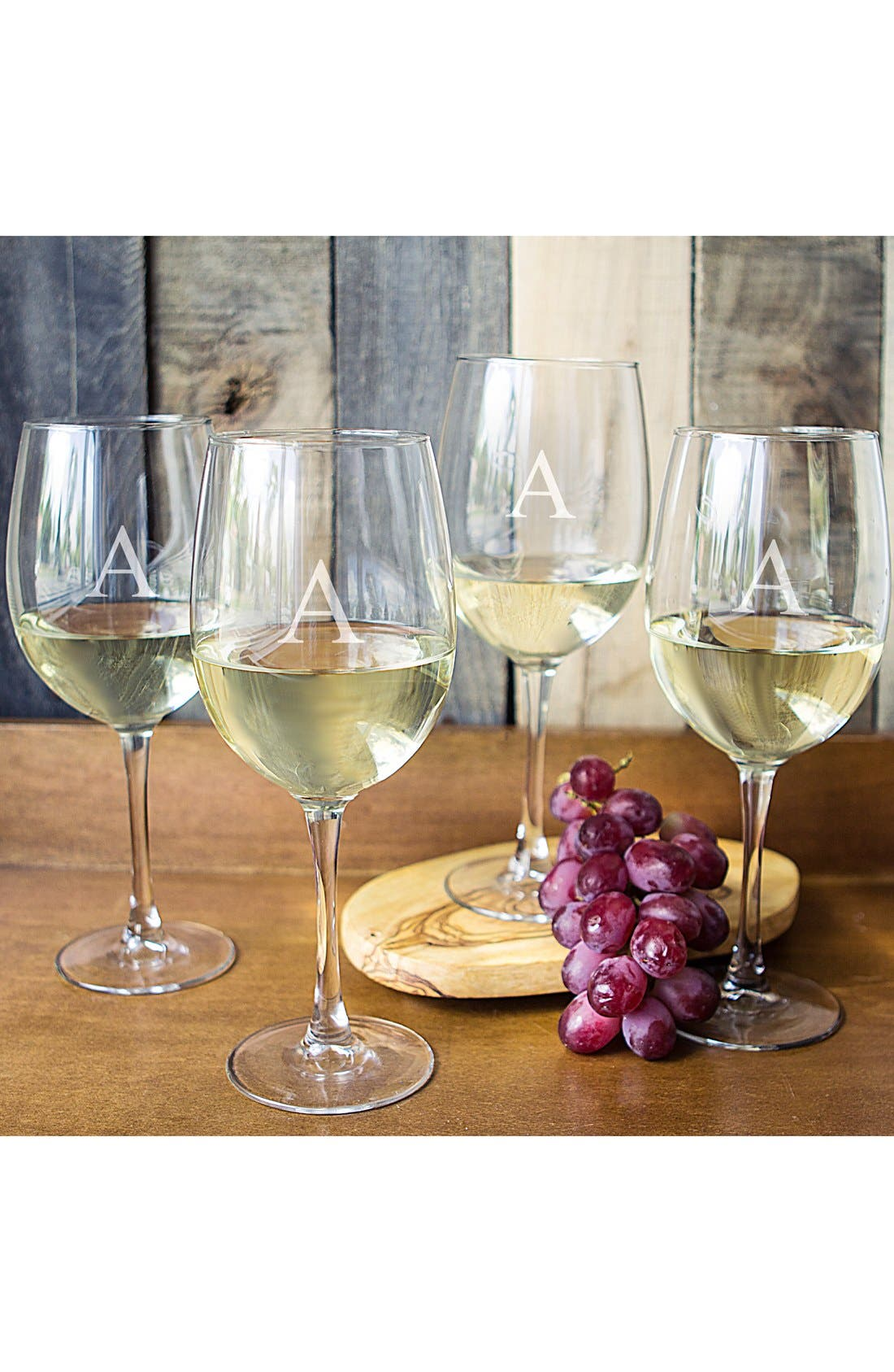 Set of 4 Personalized White Wine Glasses,                         Main,                         color, Clear-A