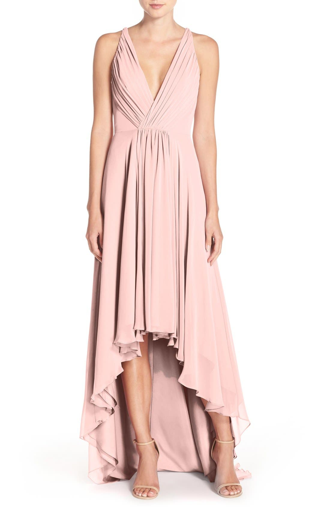 Monique Lhuillier Bridesmaids Deep V-Neck Chiffon High/Low Gown