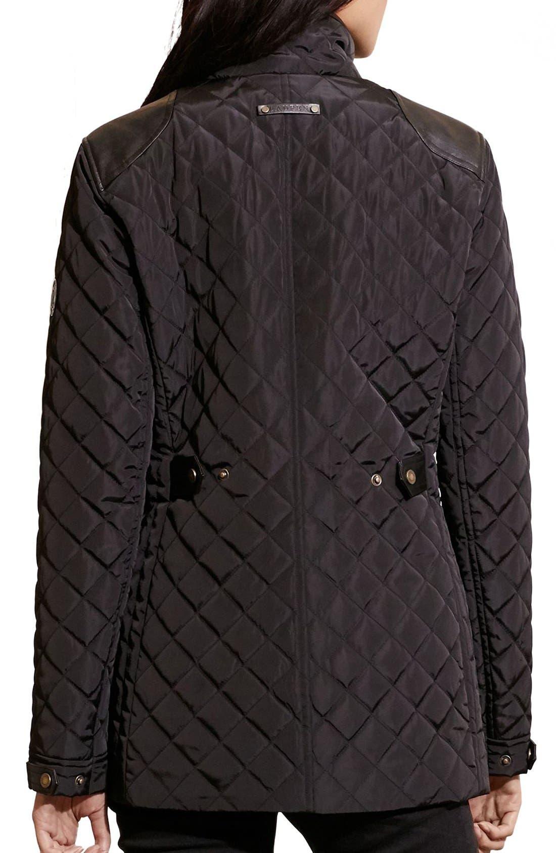 Alternate Image 2  - Lauren Ralph Lauren Diamond Quilted Jacket with Faux Leather Trim (Regular & Petite)