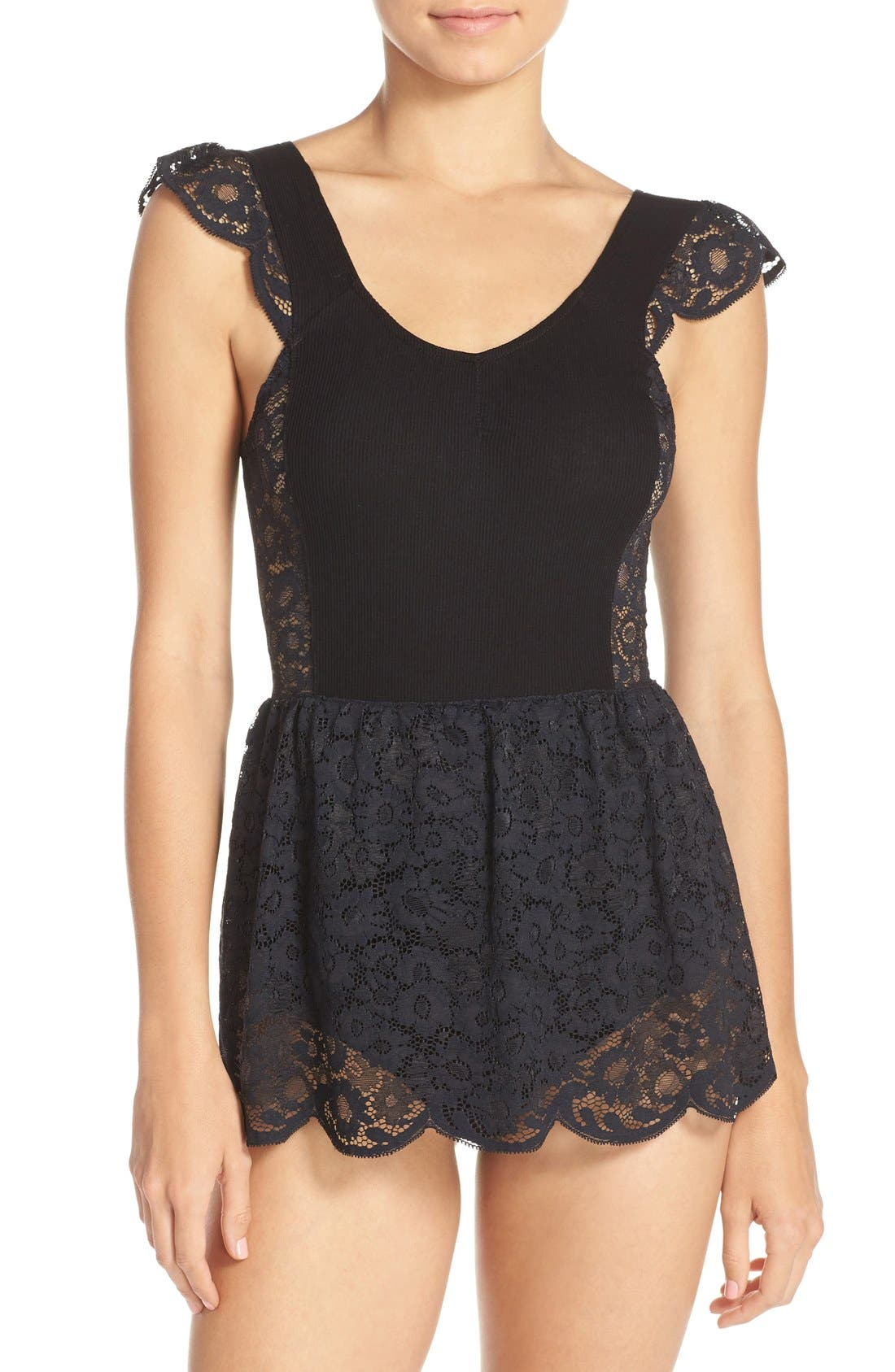 Main Image - For Love & Lemons 'Daisy' Lace Skirted Bodysuit