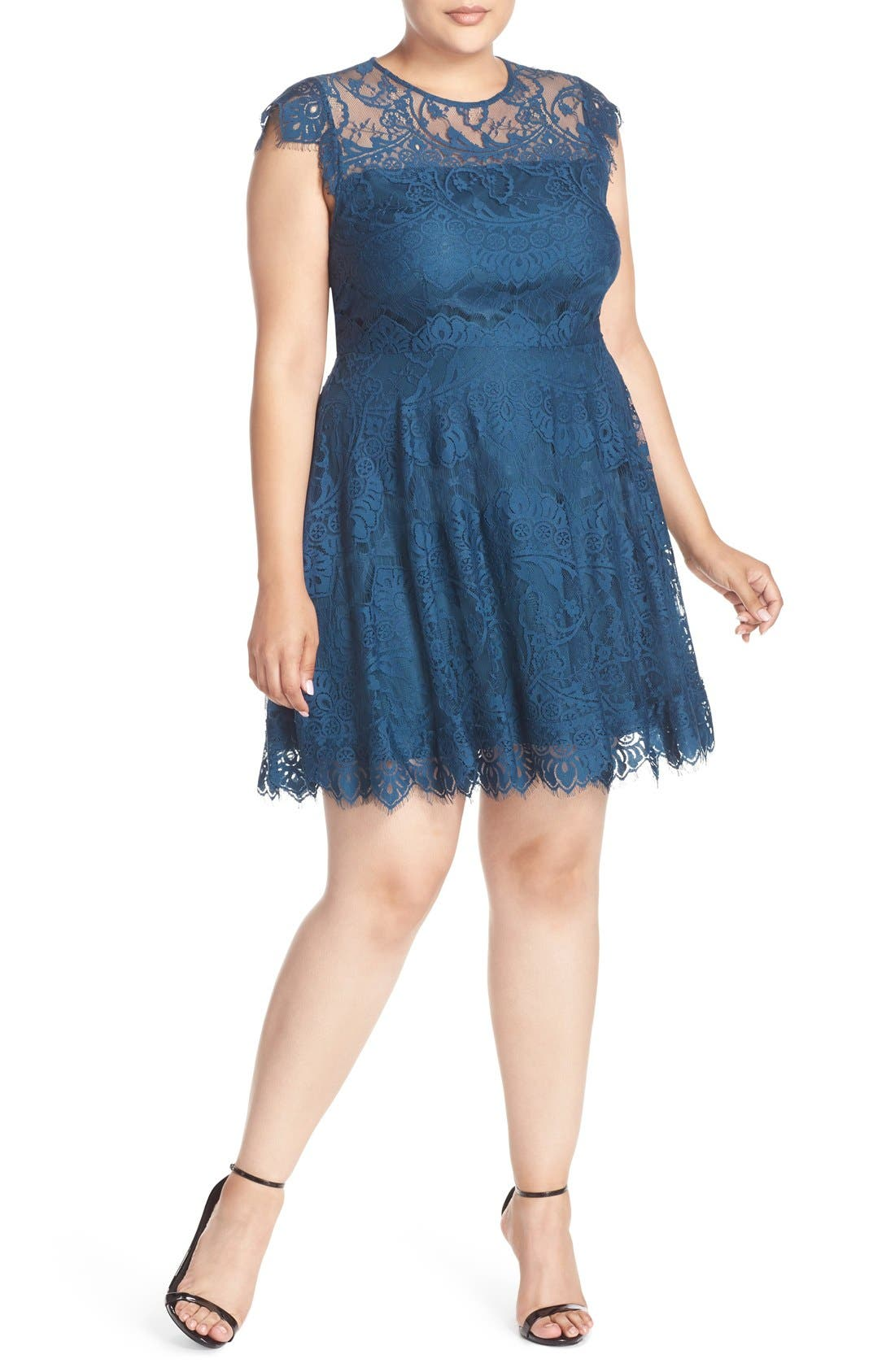 Alternate Image 1 Selected - BB Dakota 'Rhianna' Lace Fit & Flare Dress (Plus Size)