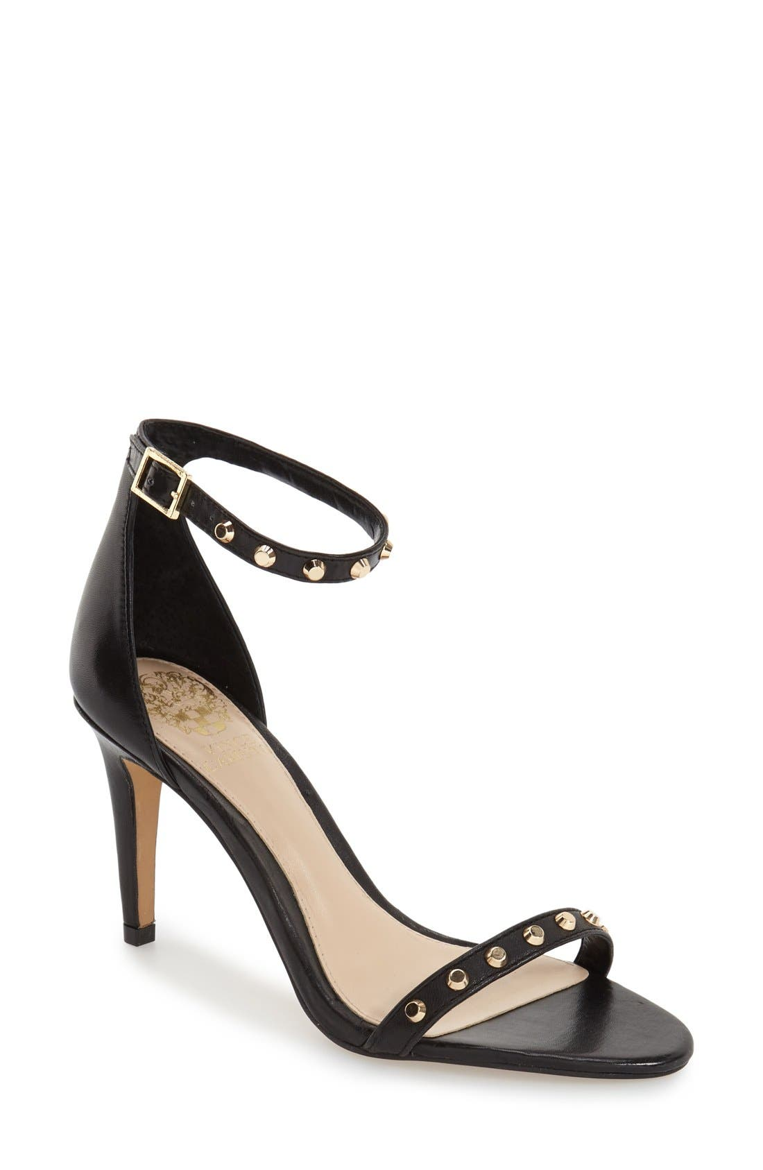 'Cassandy' Studded Sandal,                             Main thumbnail 1, color,                             Black Napa Leather