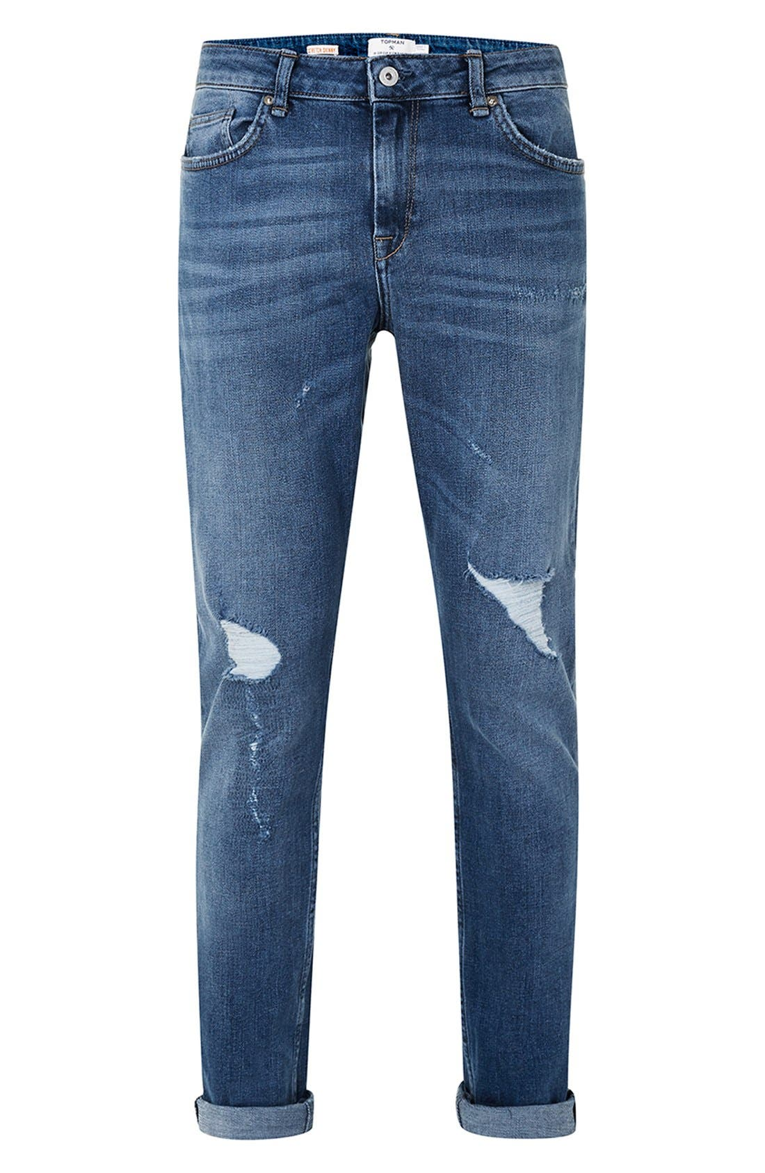 Alternate Image 5  - Topman Ripped Stretch Skinny Fit Jeans