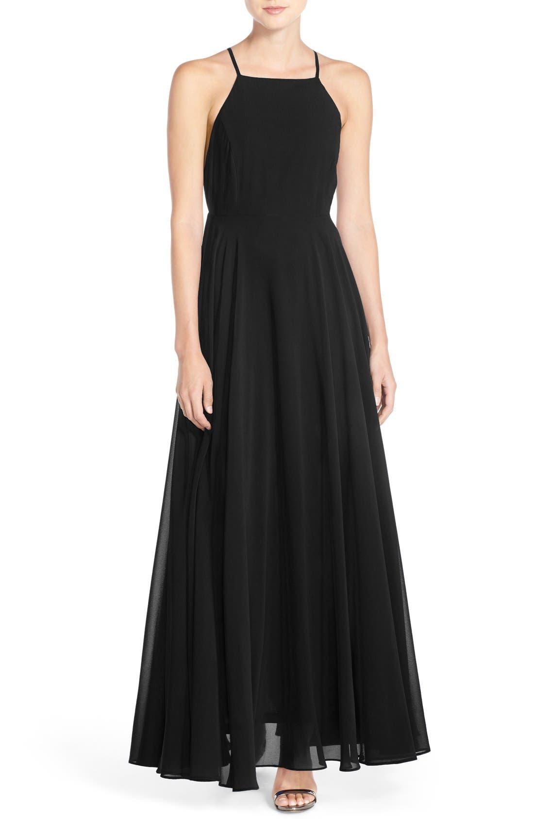 Square Neck Halter Gown,                             Main thumbnail 1, color,                             Black