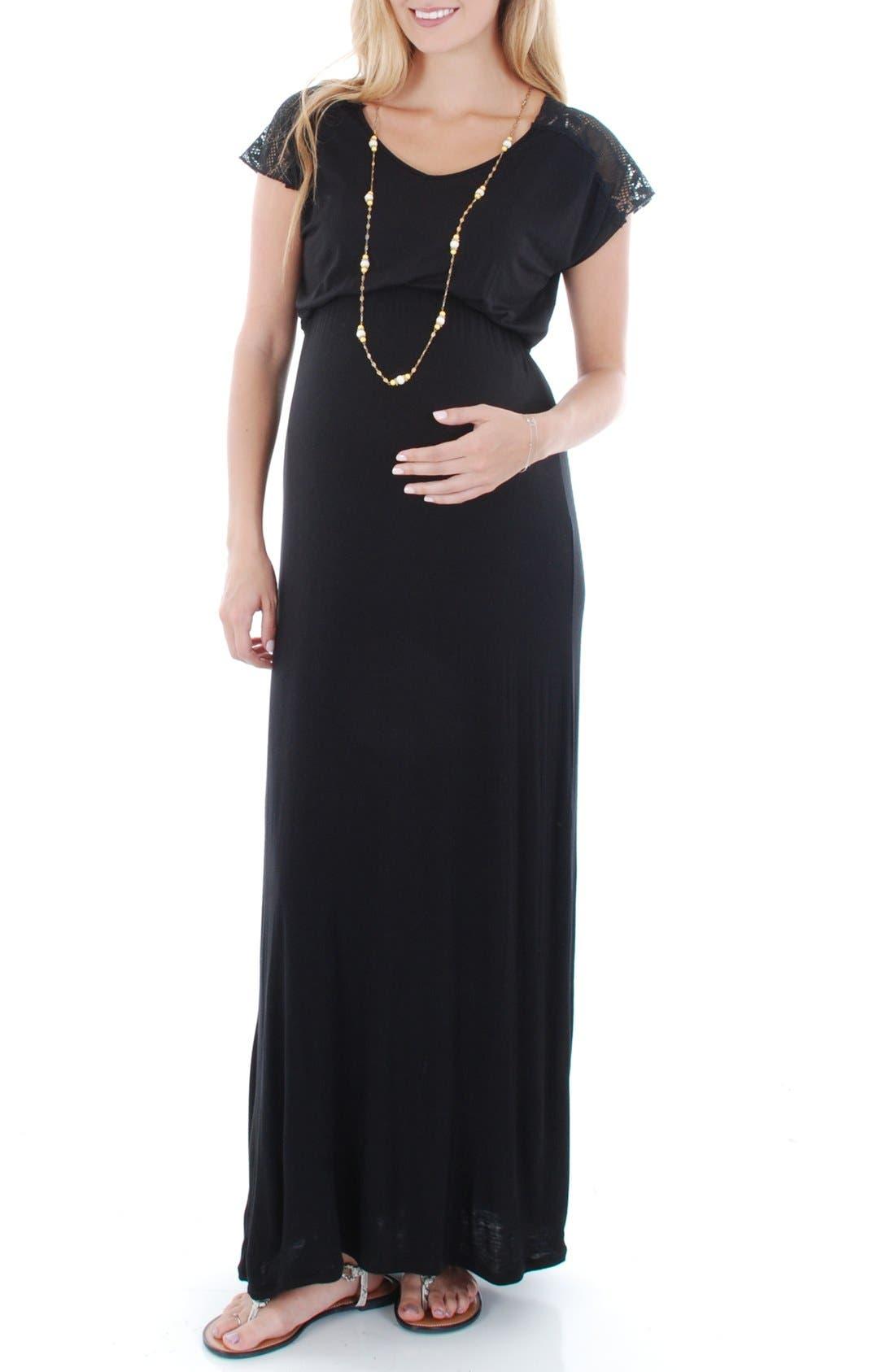 Everly Grey Lace Yoke Maxi Maternity Dress